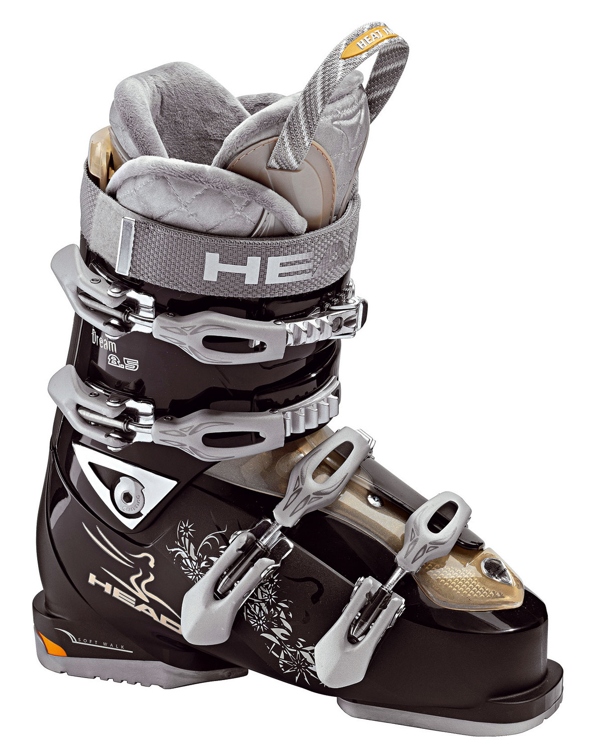 Ski These 100% by women for women boots have become dream boots for active women around the world. 08.09 they come back with even more focus on comfort (check the new easy entry instep ratchet), performance, and great looks.Key Features of The Head Dreams 8.5 HF Women's Ski Boots: Expert/WP Level/Last SL Shell Women's Super Heat 3 with Fur Lining and Thermaluxe Tips Women's Fleece Atomical Footbed 30mm Velcro Strap Prepared for Heating System 4 Micro Adjustable Alloy Buckles 2 Double Power Buckles Easy Entry Instep Ratchet Supermarcro Ratchet Stiffer/Softer Flex Adjustment Adj. Wedge Arch Support Double Canting Double Adjustable Profile Soft Walk Heel Women's Specific Supportive Heel - $251.95