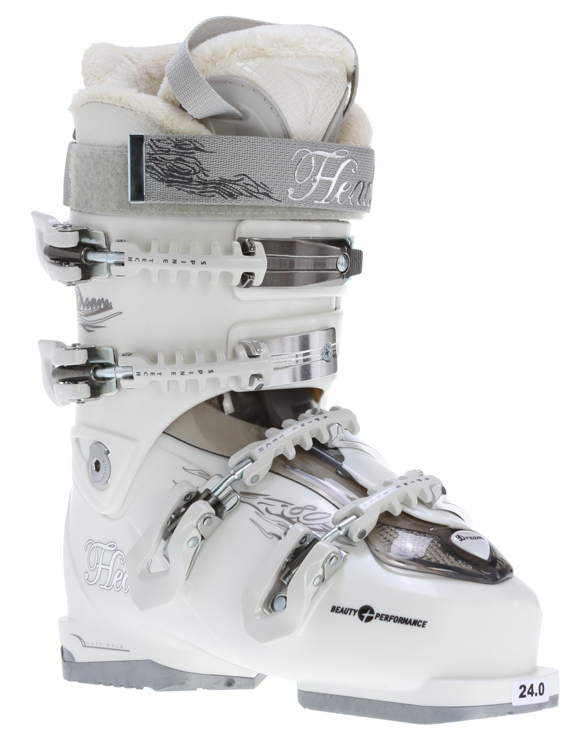Ski The Head Dream 80 Mya Ski Boots are a dream to walk on. These boots are not only warm and comfortable but their easy entry macro ratchet and adjustable arch support make them a pleasure to put on and use. Everything about the head dream ski boots screams warm without being bulky thanks to their fleece lining, thermaluxe tips, and a heatfit liner. Nothing is more important than staying warm when out and around in the snow so stay cozy and keep your toes happy with the Head Dream 80.Key Features of the Head Dream 80 Mya Ski Boots Pearl: Level: Advance SL Shell Women's Heat Fit Liner Fleece Lining and Thermaluxe Tips Self Shaping Footbed with Sanitized 30mm Velcro Strap Prepared for Heating System 4 Micro Adjustable Spine Tech Magnesium Buckles 1 Super Macro ratchet Easy Entry instep ratchet Adjustable Wedge Arch support Double Canting Double Adjustable Profile Women's Specific Supportive Heel option Flex Index: 80 - $226.95