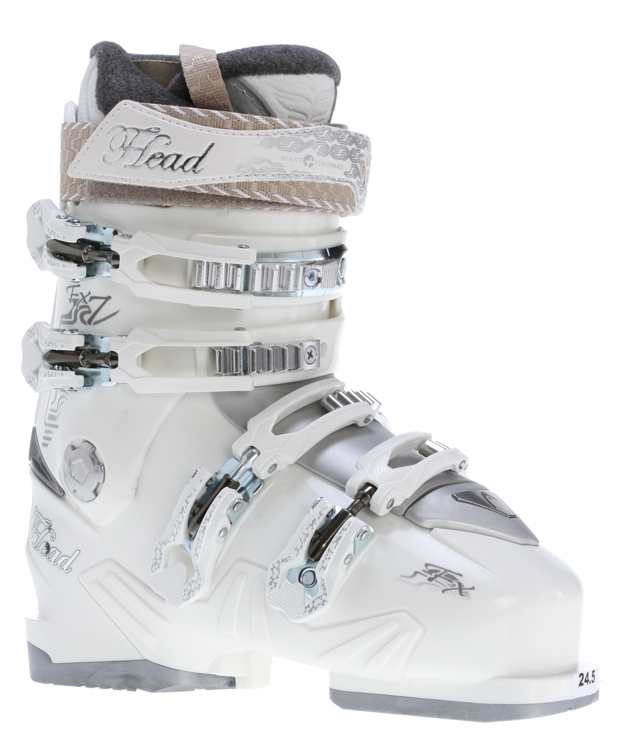 Ski Key Features of the Head FX7 Mya Ski Boots Pearl: Level: intermediate SL Shell Comfort Liner Fleece Lining Tongue Handle Comfort Footbed 4 Micro Adjustable Plastic Buckles Super Macro Ratchet Power Control Frame Flex Index: 70 - $138.95