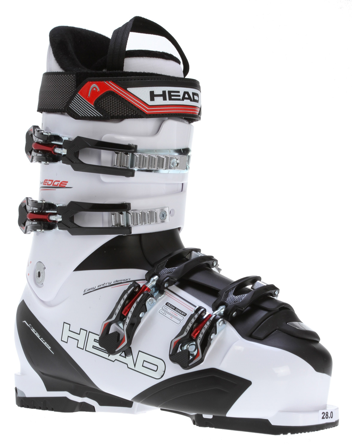 Ski Key Features of the Head Next Edge 70 Ski Boots White/Black: Level: Intermediate SL Shell Comfort Liner Sport Frame Footbed 35mm Velcro Strap Prepared for Heating System 4 Micro Adjustable Plastic Buckles 1 Super Macro Ratchet Tri-inj Energy Frame Easy Entry shell Design Double Canting Soft Walk Heel Flex Index: 70 - $199.95