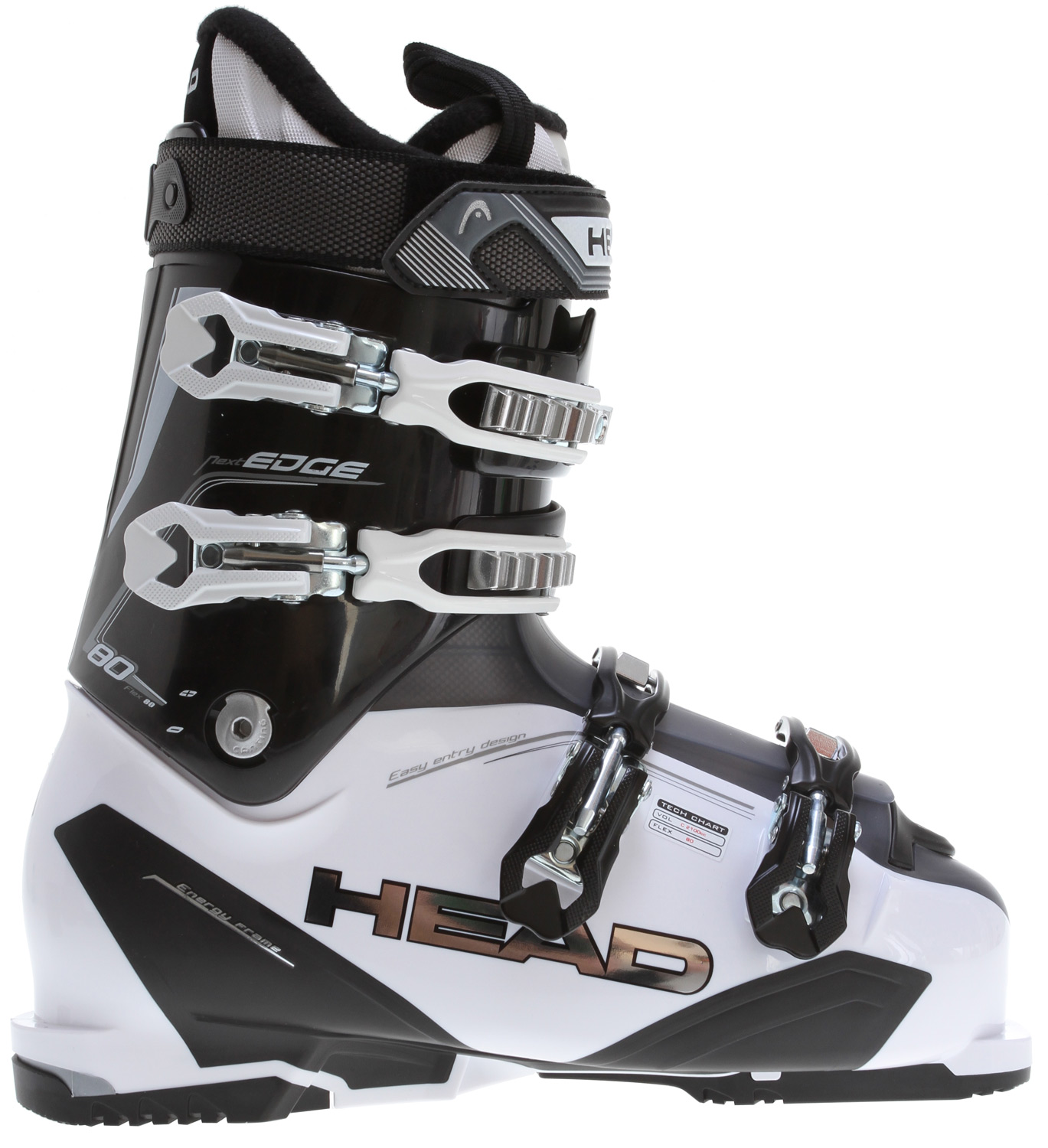Ski Key Features of the Head Nextedge 80 Ski Boots White/Black: Level: Advance SL Shell Heatfit Liner Sport frame footbed 35mm Velcro strap Prepared for heating system 4 Micro adjustable alloy buckles 1 Supermacro ratchet Tri-inj Energy frame Easy Entry shell design Double canting Softwalk heel Flex index: 80 - $243.95