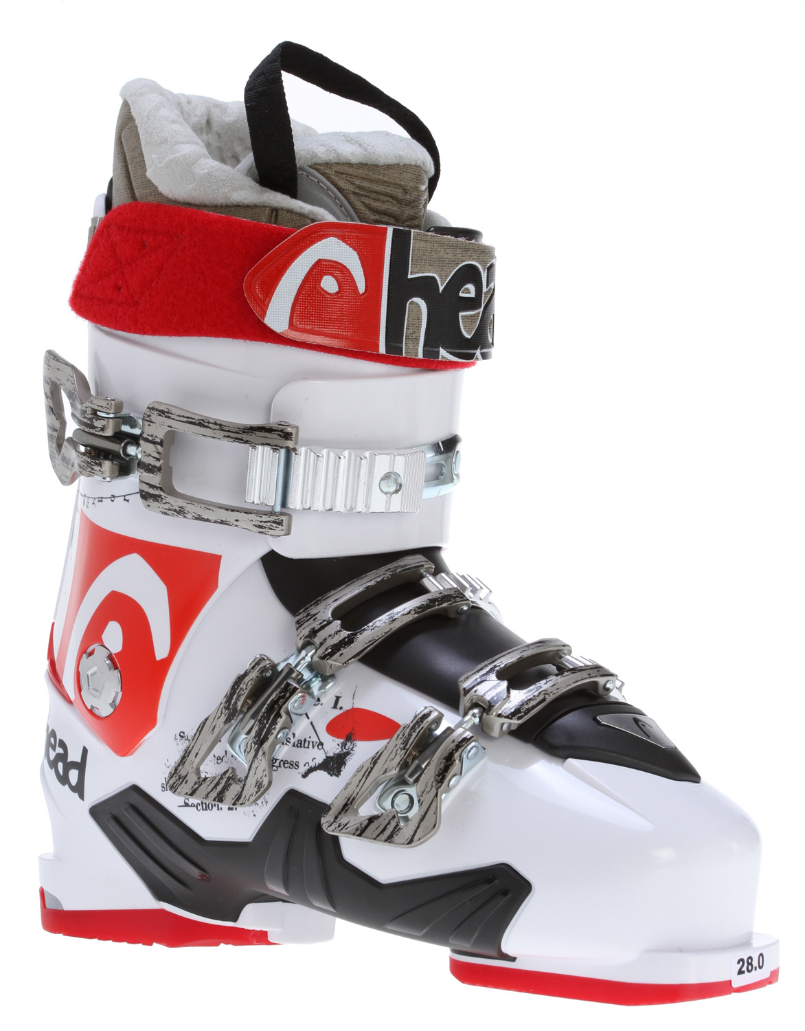 Ski Key Features of the Head The Show Ski Boots White: Level: Advance SL Shell HeatFit Liner Sport Frame Footbed 50mm Velcro Strap 2 Micro Adjustable Alloy Buckles 1 Micro Adjustable Wide Body Alloy Buckles 1 Super Macro Ratchet Bi-inj Power Control Frame Soft Walk Heel + Grip System Flex Index: 90 - $208.95