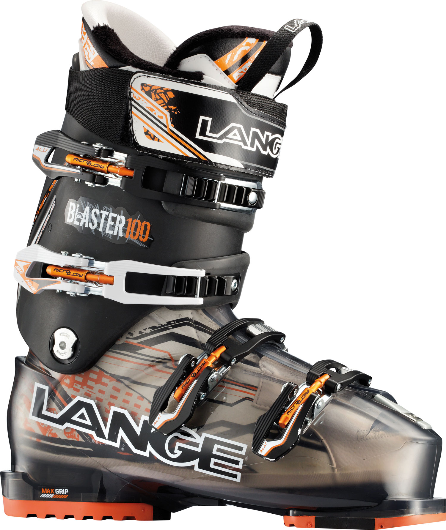 Ski Blaster boots deliver a unique blend of all-day comfort and all-mountain performance. Lange's Control Fit, 102mm last and easy entry/exit provides enhanced comfort and warmth. The easy-to-use ski/hike feature and Ultra-Grip replaceable soles provide increased comfort and traction for quick hikes or extended apres ski. Meanwhile the narrower, more articulated heel pocket and modern and efficient stance provides exceptional lateral quickness and downhill performance simply not found in other 102mm boots.Key Features of the Lange Blaster Pro Ski Boots: Last Width 102mm Flex Index 100 Liner Control Fit Canting +/- 1,5 degree Power Strap 50mm Shell Material Polyurethane Cuff Material Polyolefin Hp Soles Max Grip - $329.95