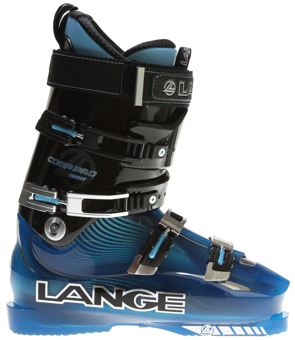 Ski The Lange Comp Pro ski boot is a slightly softer version of the Super Comp. The flex range of the Comp Pro is much shorter and quicker to engage which puts more energy in to the ski and allows the skier to pressure the front of the ski with more aggression. The design of the lower shell includes a near vertical medial wall which allows the foot to sit closer to the inside edge. Complete with a Custom Fit liner with a Neoprene toe box and removable rear spoiler the Comp Pro is designed for high performance skiing.Key Features of the Lange Comp Pro Ski Boots: Color: Trans Blue/ Black Flex: 120 Last: 97mm Shell: RL 12 Size: Half Size Only 22.5-30.5 4 Micro WC 2 EZ Open Buckles 40mm Power Strap Custom Fit Liner Polyether Material Racing Tongue Rigid Boot Board Slalom Sensor Sole T-nut Catch - $388.95