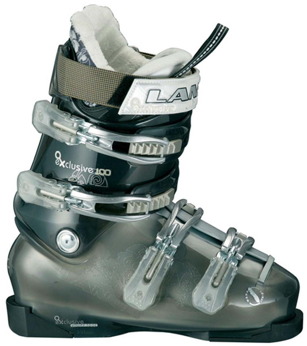 Ski The Lange Exclusive 100 ski boot returns unchanged except for color. Here is a boot that allows strong intermediate to expert women to cruise comfortably anywhere on the mountain. The Exclusive 100 fits low to mid-volume feet with moderately low insteps. Flex index: 100. After conversing with one of the employees, Katie, I was told that the big improvement is the liner. The foam is situated better where it should be to offer the best hold down and comfort. - $298.95