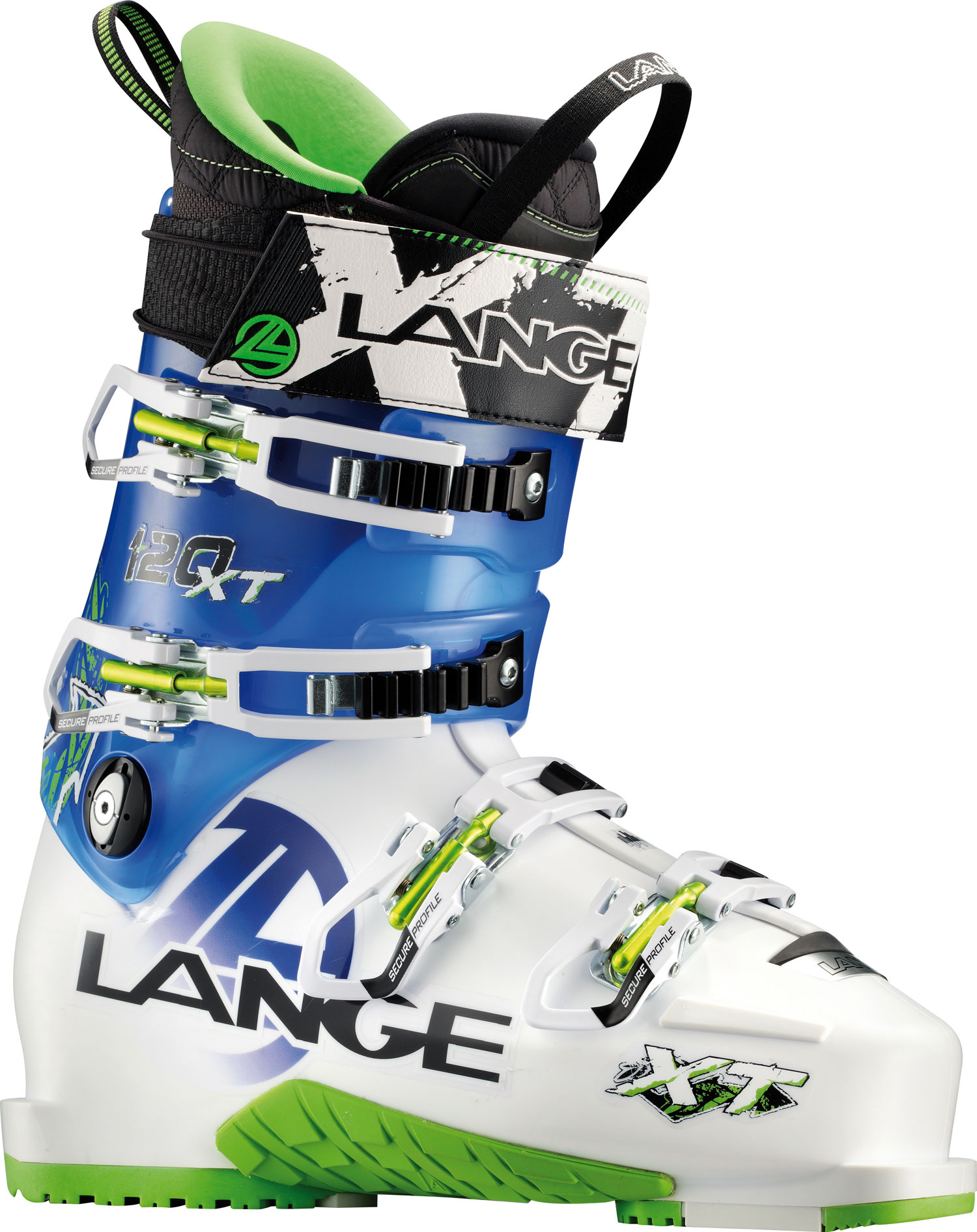 "Ski Lange's new XT boots are the first, no-compromise high-performance boots that climb. Natural Stance, mono-injected shells and Control Fit are combined with ultra-durable grip soles and arches, lightweight components, and Power V-Lock shell technology. The unique new, patented Power V-Lock provides excellent climbing range-of-motion. But, unlike all other AT and ""sidecountry"" boots, XTs feature a structurally superior, performance lower shell. The Power V-Lock integrates into the lower shell for powerful downhill high-performance skiing. XT boots are the first-of-their-kind, no-compromise freeride-adventure boots for committed skiers. Key Features of the Lange XT 120 Ski Boots: Last Width 100mm Flex Index 120 Liner Light Weight, Control Fit, Laced Canting +/- 1,5° Power Strap 50mm Shell Material Polyether Cuff Material Polyolefin Hp Soles Ultra Grip Sole & Arch - $519.95"