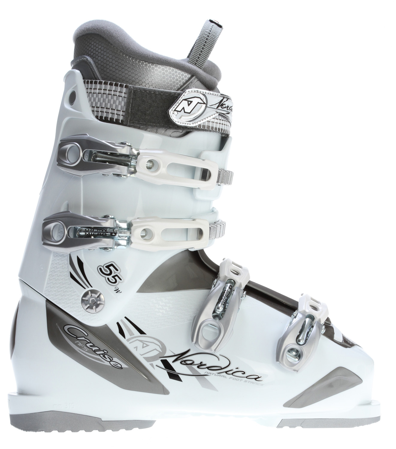 Ski Key Features of the Nordica Cruise 55 Ski Boots: NFS Natural foot stance 3D Comfort fit women's liner Aluminum mix buckles Size range 22.5-27.5 MP Last: 104 mm - $138.95