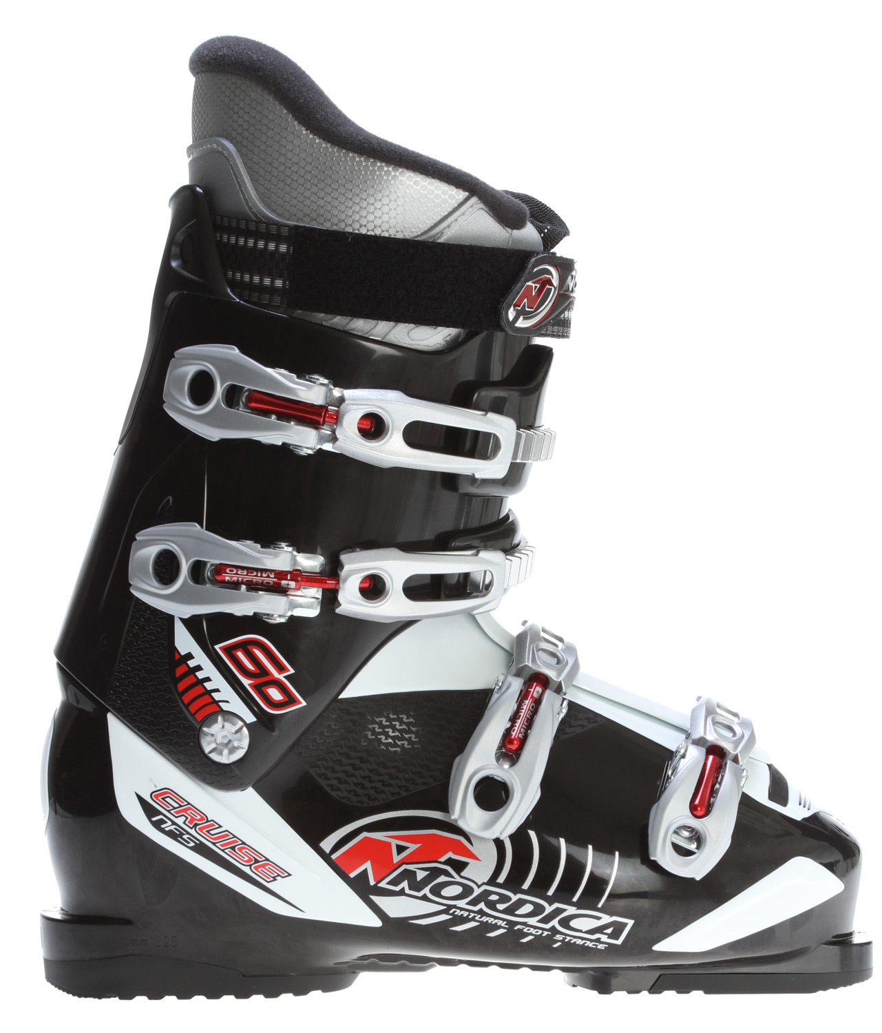 Ski Key Features of the Nordica Cruise 60 Ski Boots: NFS Natural foot stance ACP Adjustable cuff profile 3D Comfort fit liner ALU Buckles mix Size range 24.0-31.0 MP Last: 104 - $199.00