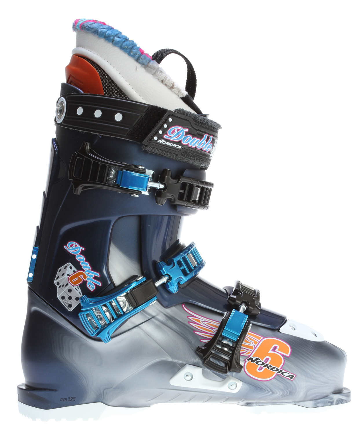 Ski For all of your outdoor winter skiing needs, the Nordica Double Six Ski Boots for men will be right there with you keeping up. A 3-piece easy entry system increases your time on the slopes by making the getting ready process simple. The Double Six's shock erasing technology provides comfort and enhances performance through bumps and moguls for many long days out in the pow. Featuring Triax Ultra lite polymer, this boot is light-weight and keeps energy in every turn so you can power down the mountain skillfully. Get the best in quality and unbridled performance with Nordica's Double Six boots!Key Features of the Nordica Double Six Ski Boots:  Triax Ultra lite polymer  45 degree Instep retention  Progressive flex with tongue rebound  Full shock eraser  PFP FSE liner  3 Piece easy entry shell construction  High traction rubber soles  Paint clip holder  Alloy buckles  Size range 24.5-29.5 MP (half sizes only   Last 100mm - $259.95