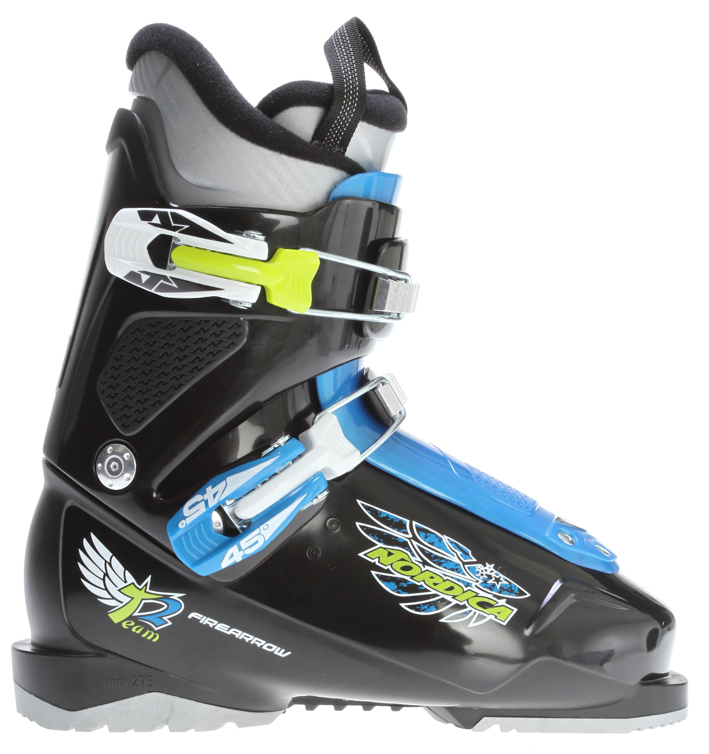 Ski No matter what age your skier, Nordica Junior boot collection has a boot that will grow with your child and be a comfortable easy boot to use.Key Features of the Nordica Firearrow Team 2 Ski Boots:  45 degree Instep retention  Progressive flex with tongue rebound  3 PC easy entry shell construction  Comfort fit JR liner  Size range 16.0-23.5 MP  Last 100mm - $88.95