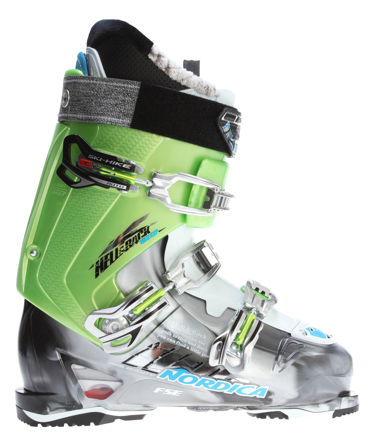 Ski Key Features of the Nordica Hell & Back Hike Exp Ski Boots: TRIAX Ultra Light Polymer Hike and Ride Technology 45 Degree Instep Retention Progressive Flex with Tongue Rebound Dual-Density Full Shock Eraser PFP Comfort Liner 3 Piece Easy-Entry Shell Construction High Traction Rubber Toe and Heel - $490.95