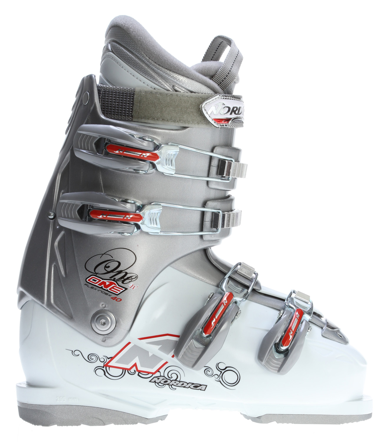 Ski Perfect combination of comfort and convenienceKey Features of the Nordica One 40 Ski Boots: 3D Comfort fit women's liner HP Slide IN PC Steel buckles Size range 23.5-27.5 MP Last 104mm - $134.95