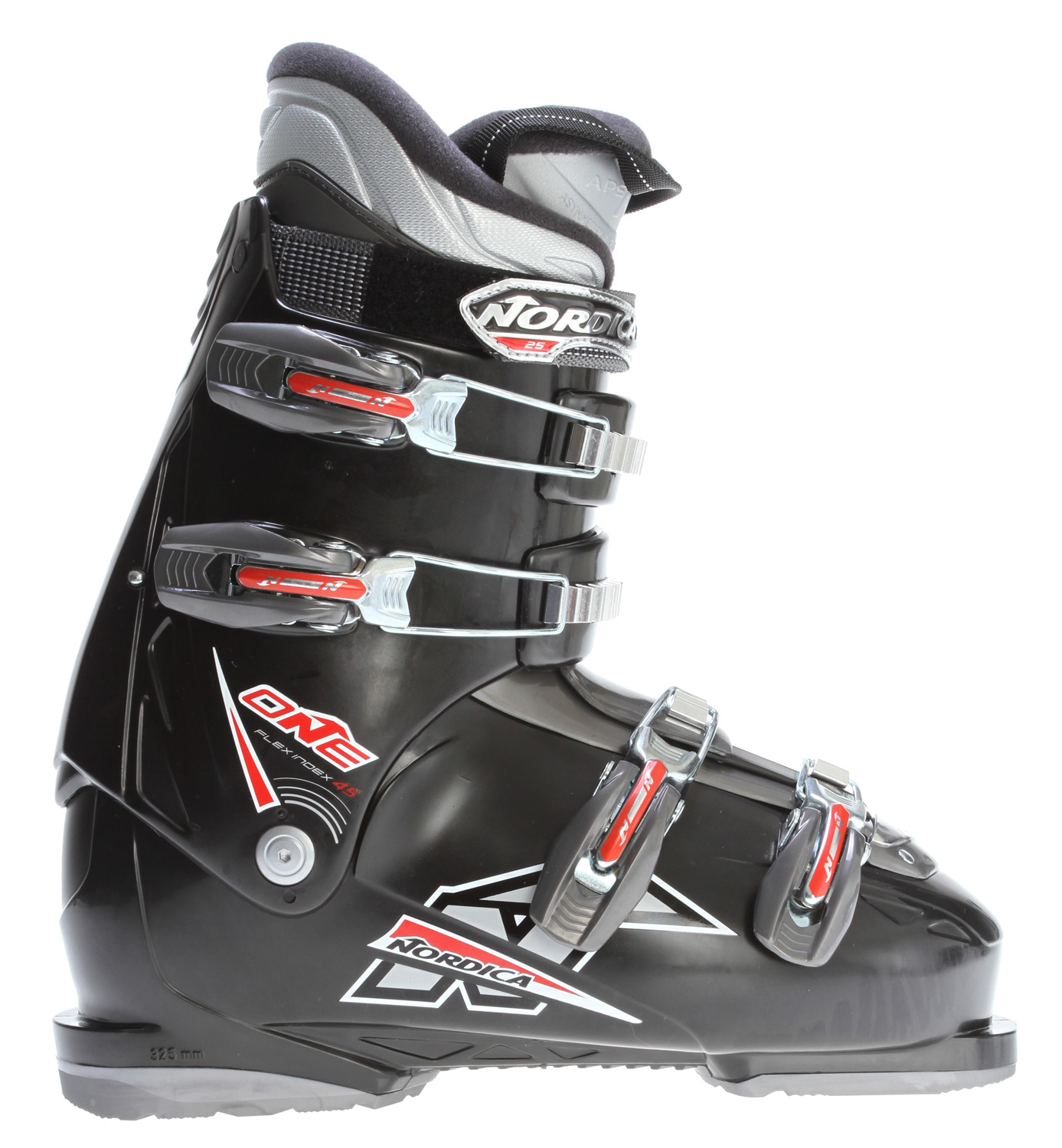 Ski Key Features of the Nordica One 45 Ski Boots: 3D Comfort fit liner HP Slide IN PC steel buckles Size range 25.0-31.0 MP Last 104mm - $179.00