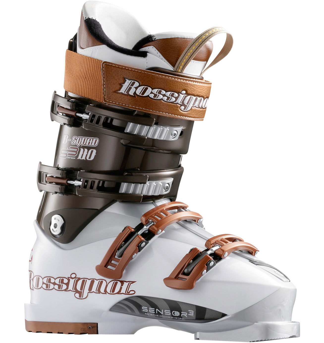 Ski Big mountain, hard-charging boot with maximum power and sensitivity for professional freeride athletes. Vibram soles for extra grip on those rocky approaches. Works in alpine or AT bindings.Key Features of the Rossignol B-Squad Pro 120 Ski Boots: Flex index: 120 Last: 98mm Spoiler: Removable spoiler Power Strap: 360degrees 40mm Buckles: 4 Milled Aluminum Micro Buckles Catches: 2 adjustable Foot Board: Visco Rubber Liner: Pro Fit - Thermo Moldable - $349.95
