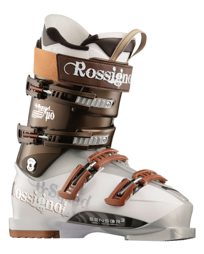 Ski Rossignol Bsquad Sensor3 90 White/Anthracite The Rossignol Bsquad Sensor 3 90 is one of the best boots out there for skiing. They look as slick as hell and give you the best performance you can have on the slopes. These are very great for performance skiing and will respond quickly to your actions. These have really secure buckles and straps and will protect your feet when you need it. These boots are recommended for those who already have knowledge of the slopes and want to become better at skiing.Key Features of the Rossignol B-Squad Sensor 90 Ski Boots White/Brown: Shell: Polyurethane Polycarbonate insert Spoiler: N/A Power Strap: 360degrees 34mm Buckles: 4 Magnesium Diagonal Micro Buckles Catches: 2 adjustable Foot Board: Visco Rubber Liner: Pro Fit - Thermo Moldable - $236.36