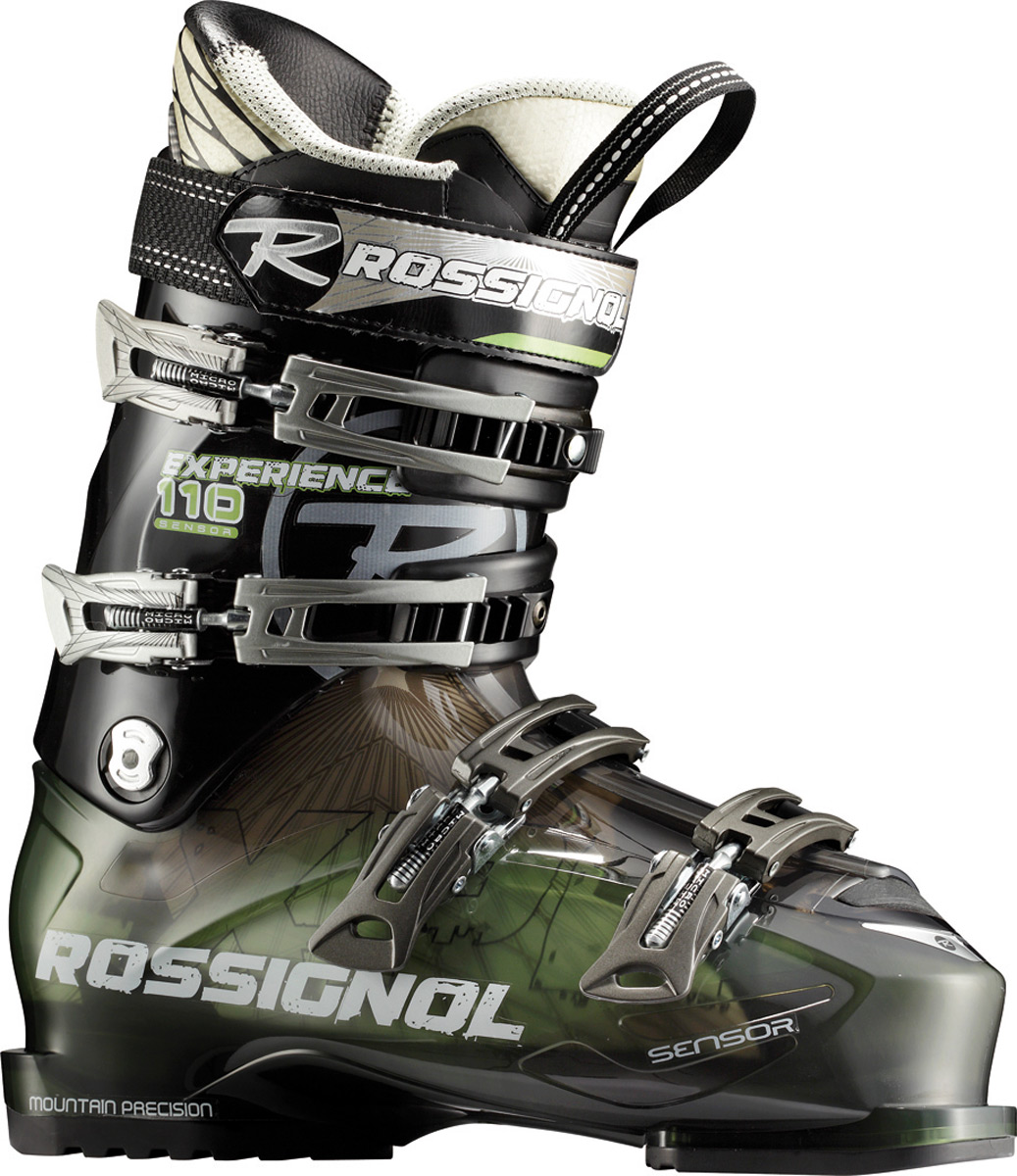 "Ski Sensor boots have a 104mm ""wide"" fit based on the 100mm sensor. Sensor shells feature a 4mm wider ""v"" shape in he forefoot, preserving the contoured fit, strong heel cup and asymmetrical toe box. Sensor fit liners provide an open instep and accommodating ankle area, increasing comfort, performance and warmth. Available in 110 to 70 flex ranges, sensor boots are perfect for ntermediate to novice skiers who want confident all- mountain performance and a generous fit.Key Features of the Rossignol Experience Sensor 110 Ski Boots: Sensor fit liner: focuses on solving all of the common problem fit areas Sensor fit simply fits more feet better Easy entry: notches in the plastic along the instep allow for easy entry and exit without compromising four buckle overlap boot performance Neutral stance: delivers more control, better balance and minimizes fatigue Neutral stance includes a laterally neutral cuff, 4.5 degree ramp angle and 14 degree forward lean Sensor shell: uses a boot board that connects the three key receptor points to the boot sole The direct link with the stiffer bi-injected lower shell produces enhanced power, control and feel. Material : polyether Padding : molded pu hard Last : 104 mm Flex : 110 - $279.95"