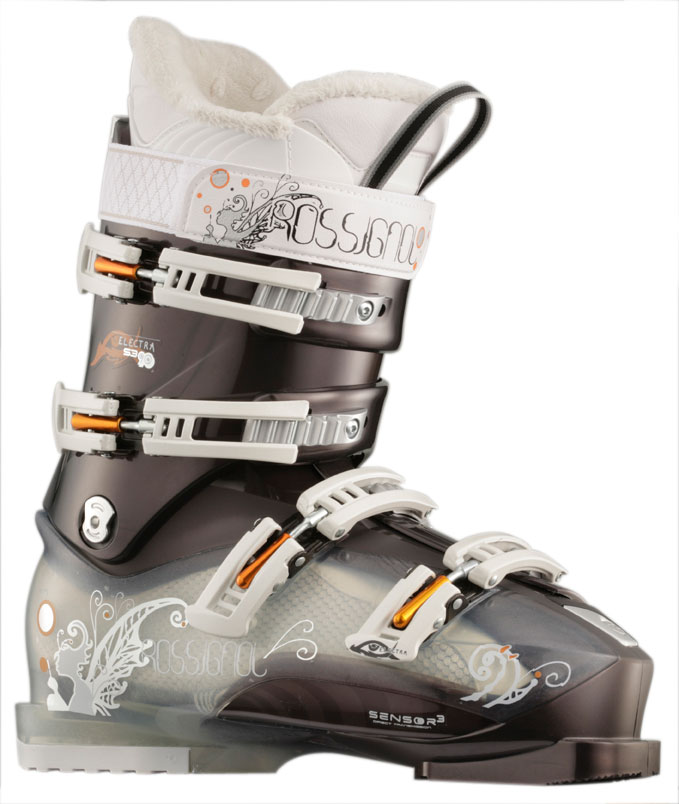 Ski High powered all mountain boot for aggressive women skiers that seek ultimate sensitivity and fit.Key Features of the Rossignol Electra Sensor3 90 Ski Boots: Flex index: 90 Last: 100mm Shell: Polyether + Polycarbonate insert Cuff: Women's - Tulip shaped Power Strap: 360degrees 30mm Buckles: 4 Magnesium Diagonal Micro Buckles Catches: 2 adjustable Foot Board: PU Liner: Women's Pro Fit - Thermo Moldable - $175.96