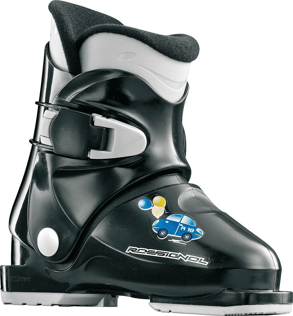 Ski The R18 is a great introductory boot for first time kid skiers. The boot has a large opening allowing even the smallest kids easily enter and exit. One simple buckle is quick and easy for parents to get the little ones out on the hill. Its soft flex allows young skiers to master pizza wedges and french fries.Key Features of the Rossignol R18 Ski Boots:  Flex index 30  Shell specification: Polypropylene  Bootboard  Cuff specification: Polypropylene  Liner technology: Thermoformed  Buckles material: 1 Memo buckle - $112.95
