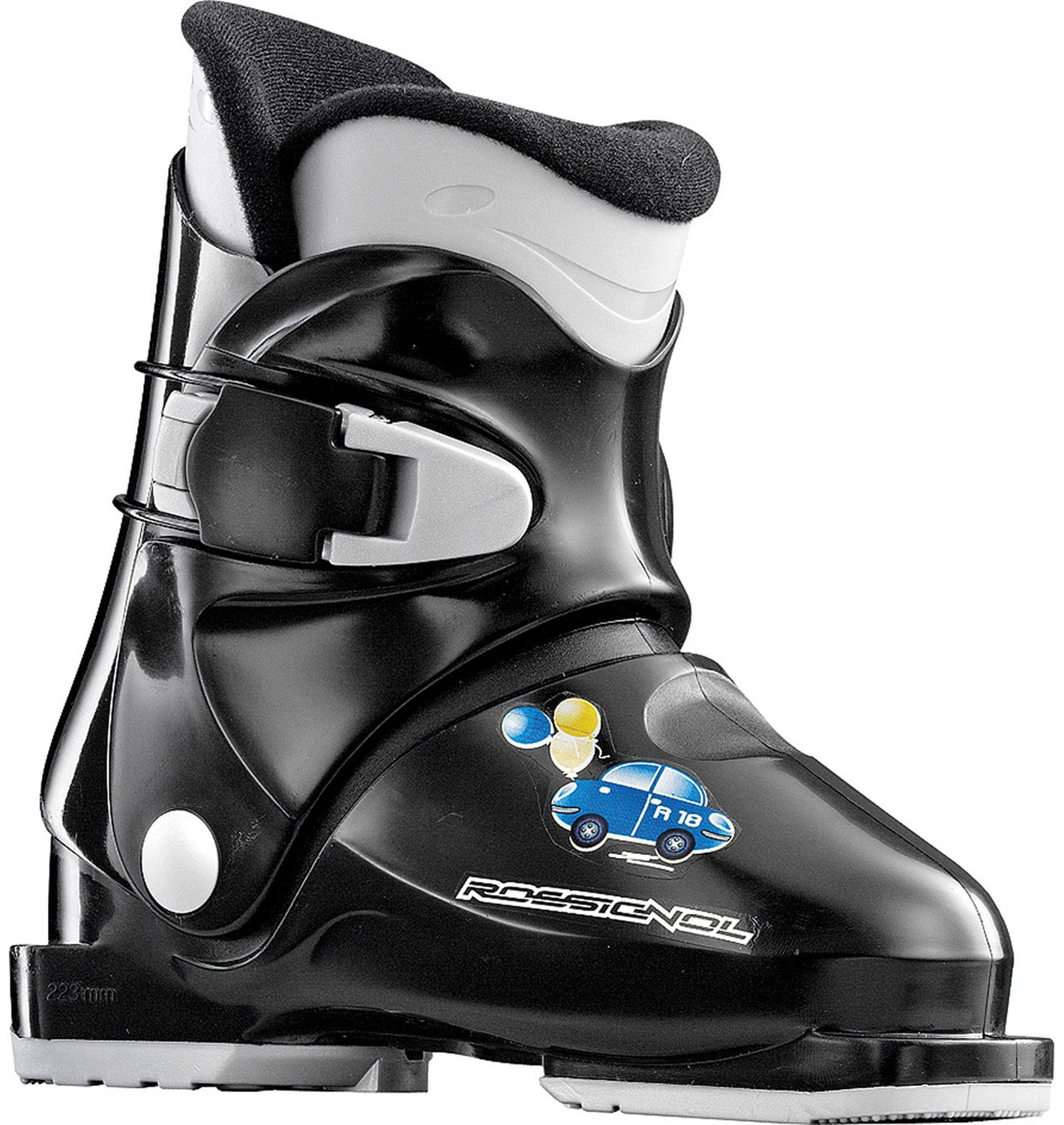 Ski The R18 is a great introductory boot for first time kid skiers. The boot has a large opening allowing even the smallest kids easily enter and exit. One simple buckle is quick and easy for parents to get the little ones out on the hill. Its soft flex allows young skiers to master pizza wedges and french fries.Key Features of the Rossignol R18 Ski Boots: Flex index 30 Shell specification POLYPROPYLENE Bootboard - Cuff specification POLYPROPYLENE Liner - technology THERMOFORMED Buckles - material 1 MEMO buckle - $77.95