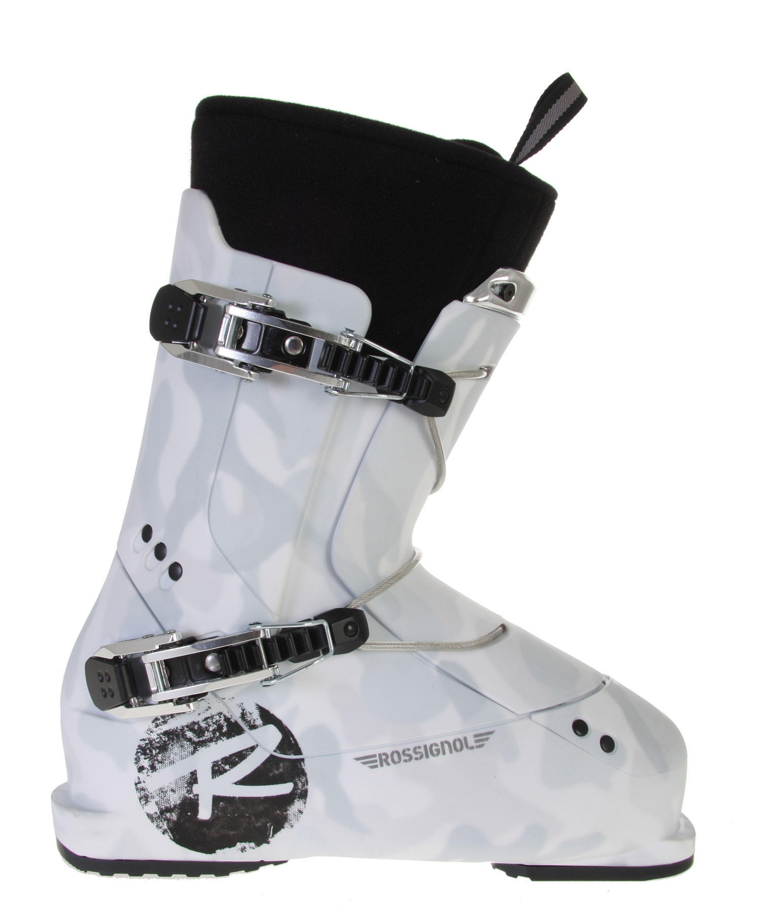 Ski Hard core, professional jib boot targeted for all day park invasions and superpipes. This new freestyle boot design is one-of-a-kind with many innovations for stomping any landing.Key Features of the Rossignol SAS FS1 Ski Boots:  Flex index: 90  Last: 102mm  Shell: Polyurethane  Spoiler: N/A  Power Strap: 360degrees Velcro  Buckles: 2 Milled Aluminum Micro Buckles  Catches: 2  Foot Board: Visco Rubber  Liner: EVA - Thermo Moldable - $219.95
