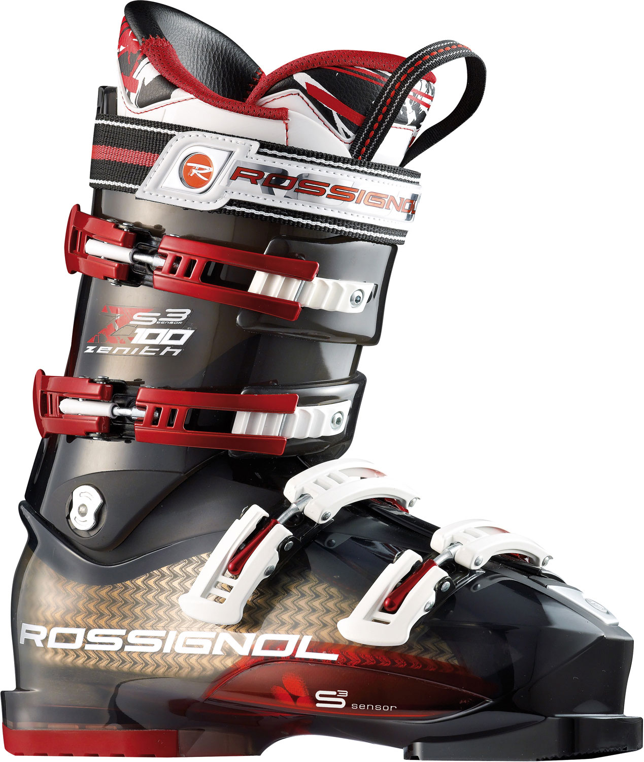 Ski Featuring an unusually articulate heel area; incredibly accurate pre-molded liner and direct sensory input between foot and shell, the 100mm-last Sensor3 shell may be the most compelling boot in its class. Through the use of a three-year, 3D imaging foot analysis project, Rossignol has created what may be the most versatile, accurate it for more feet on the market than any other boot.Key Features of the Rossignol Zenith Sensor3 100 Ski Boots: Pro Fit Liner: 1st true lasted liner; matches internal shell perfectly for best out-of-the box it. Padding: Pre-shaped precise padding holds the heel securely and is resistant to packing out One Piece Toe Box & Tongue: Seamless toe box eliminates pressure points around the toes to ensure warmth and comfort Instep Pocket: Soft pocket over instep bone for personalized it to provide comfort and circulation to toes Easy Entry Concept: Notches in lower shell allow for ultra easy entry and exit without compromising four-buckle boot performance. Sensor Concept: The foot's 3 balance points, including: the big toe, little toe and heel sit in closer proximity to the responsive poly-carbonate shell inserts for unprecedented feel and power. Neutral Stance: Gives skiers a stable and efficient stance to drive the ski through turns. Boot Board: Removable board, improves it and allows for an easier stance adjustment. Freeride boots use material to soften landings and absorb shock. Diagonal Buckles: Angled design that is effortless to use and pulls foot back into heel pocket. - $359.95
