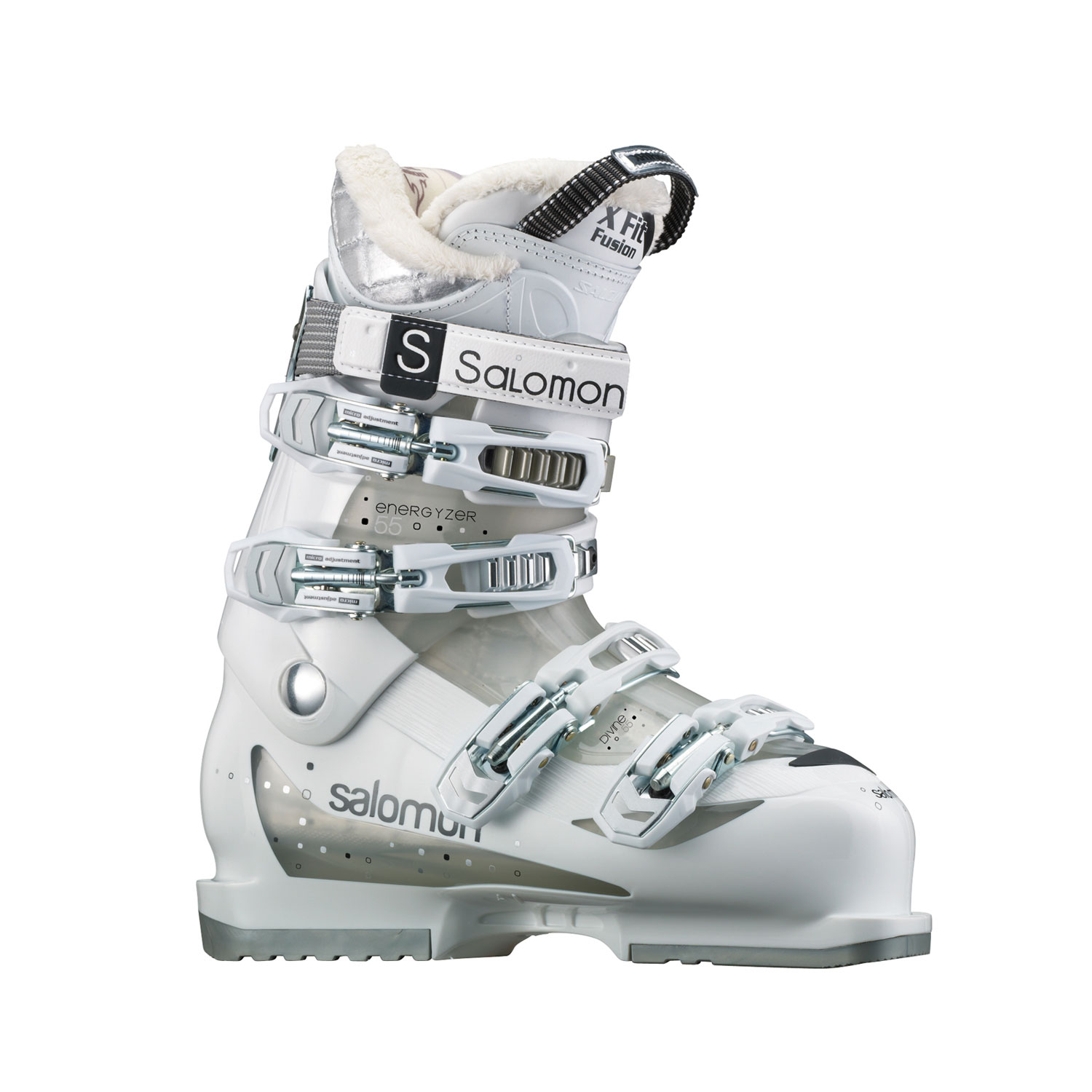 Ski Key Features of the Salomon Divine 55 Ski Boots: Xfit Fusion Comfort 4 Micro Plastic Buckles Tool Free Catch Adjustment Heel And Toe Removable Din Pads Women Specific Liner Polar Fleece Women Heel Wedge - $139.95