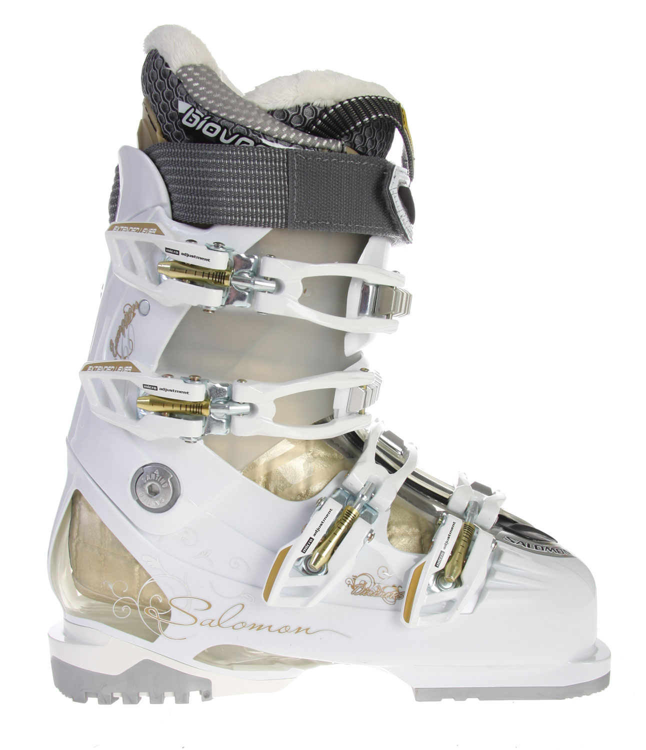 Ski Many frustrated shoppers assume that comfort and style simply cannot be combined in a price effective manner, yet the Salomon Divine RS 7 Ski Boots are evidence of the exact opposite. An intricate series of buckles ensures that the foot stays securely within the boot and no bitter snow sneaks its way into the interior. Yet even so, the buckles are specially built to still allow for regular mobility. The boots are sleek and glossy and come with faux fur in order to give off  a cute impression.Key Features of the Salomon Divine RS 7 Ski Boots:  Bi material PU lower shell  Bi-material PP upper cuff  My Custom Fit Sport  Biovent  Faux fur  Women liner  Women calves adjustment  Flex: 60  Last: 102  Strap: 35 - $379.95