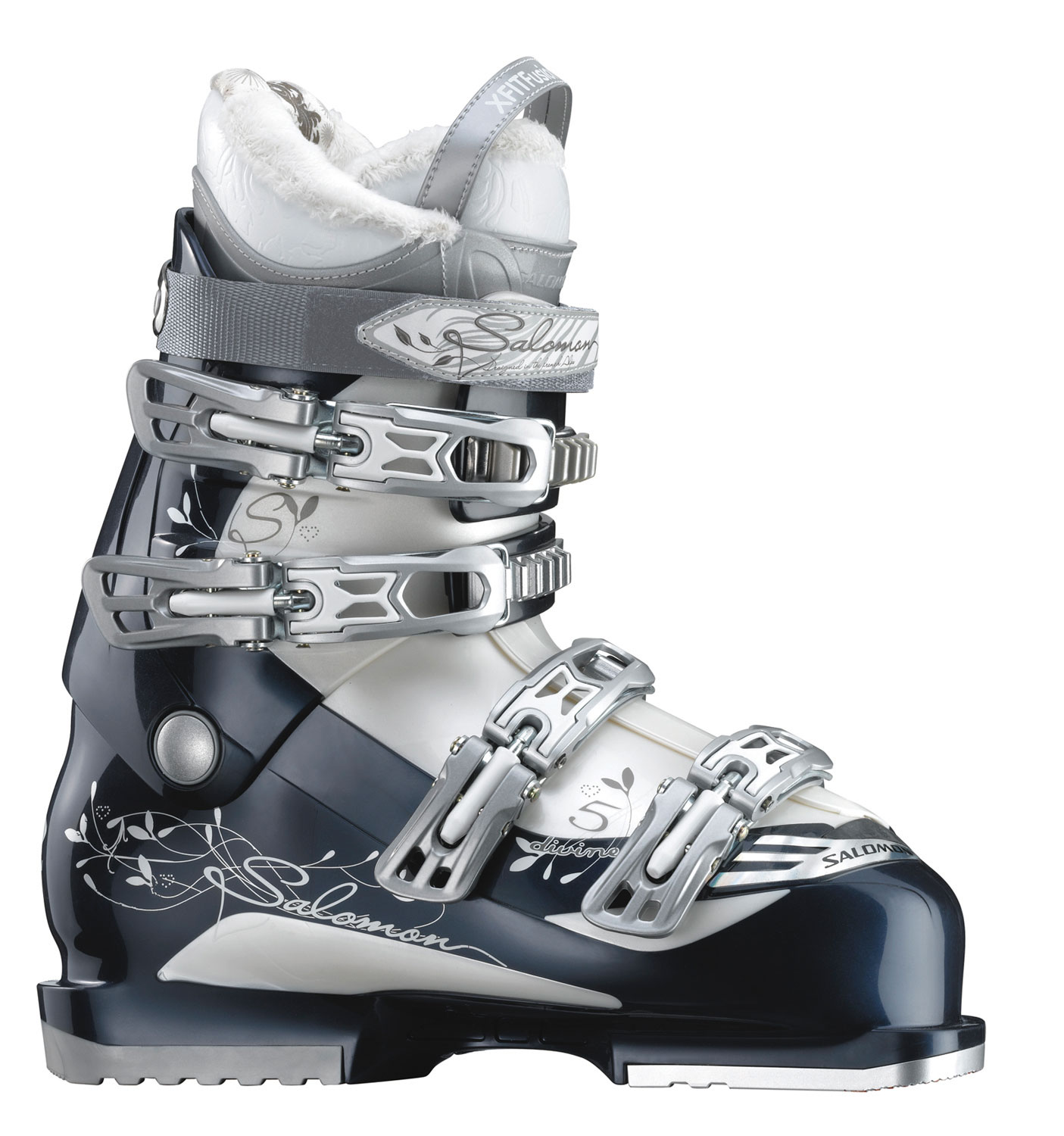 Ski Specially designed with removable toe and heel din pads, as well as  offering tool-free adjustments, the Salomon Divine 5 Ski Boots Shadow / White Pearl are the perfect women's ski boots for the serious skier. Unparalleled in performance and comfort, the interior is designed with luxurious faux fur. For convenience, the tongue has a loop. Like all Salmon Divine products, the durability is impressive, and when you own Salmon Divine ski boots, you never have to worry about sacrificing performance for comfort.Key Features of The Salomon Divine 5 Women's Ski Boots:  4 Mirco Alu / Place Buckle  XFit Fusion Active Liner  Faux Fur  Loop on Tongue  Tool Free Catch Adjustments  BI Material PP Shell and Cuff  3D Senifit  Heel and Toe Removable Din Pads - $210.95