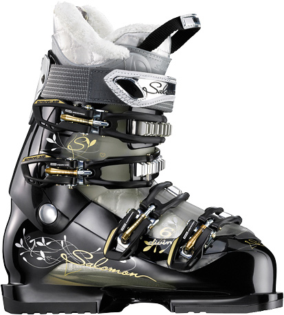 Ski A sporty looking boot with Advanced Shell technology for precision and an extra wide sensifit for easy step inKey Features of the Salomon Divine 6 Ski Boots:  Bi-material PP lower shell  Bi-material PP upper cuff  Advanced Shell Technology  Tool free catch adjustment  Heel and toe removable din pads  X Fit Fusion Advanced  4 micro alu buckles  Faux fur  Women liner  Women heel wedge  Weight 4500 (24.5   Flex Index 55  Strap 35  Last 104 - $157.95