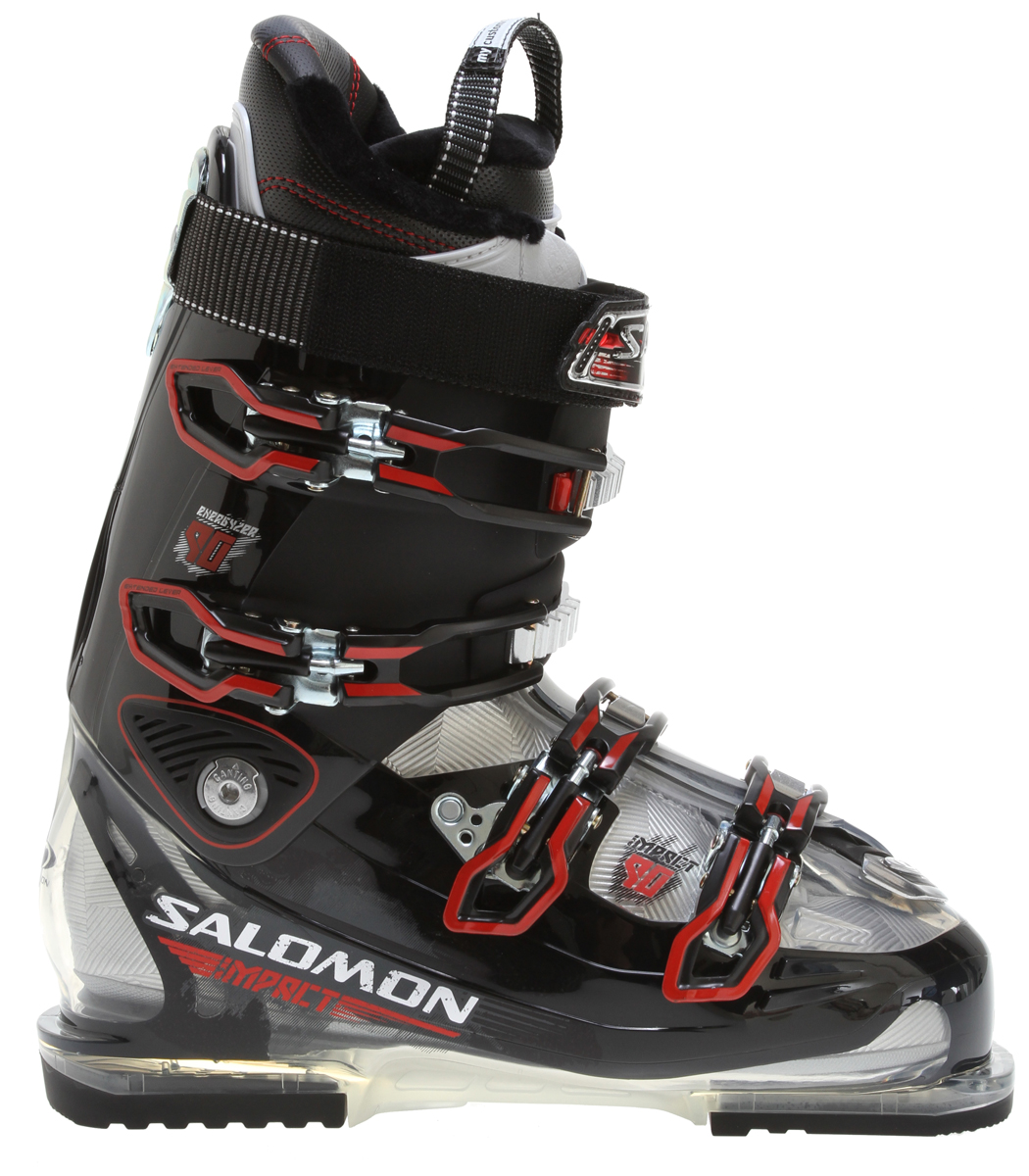 Ski Performance all-mountain boot for skiers who demand maximum performance but refuse to sacrifice comfort. Improved with new foot positioning in the bootKey Features of the Salomon Impact 90 Ski Boots: Bi material PU lower shell Bi-material PU upper cuff World cup advanced shell technology 1st tooth catch Single canting Heel and toe removable din pads My Custom Fit Comfort 4 micro titanium buckles Flex Index: 90 Last: 100 - $349.95