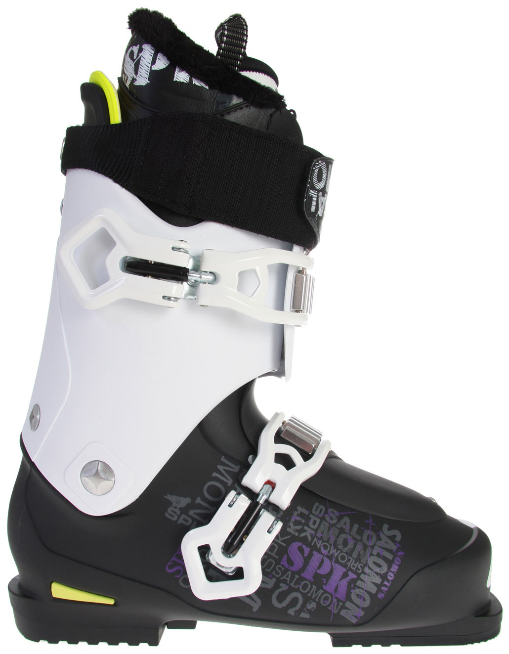 Ski Kaos ski boots, a progressive model from Salomon, are ideal for a day at the terrain park.  The boots are light-weight thanks the Freestyle Spaceframe construction and a two-buckle design. Also boasting a thermo-moldable liner around the ankle and tongue of the boot, Kaos boots act like they are custom fit. Add some faux fur to the liner, and a little extra space in the toe box and these boots are a logical choice for park and pipe riders. With ultimate comfort and measures to help improve balance these boots make sense for both beginners and experts.Key Features of the Salomon Kaos Ski Boots:  My Custom Fit Sport  Quicklace  Adjustable spoiler  Extra padded spoiler  Shin pad  SCS with Rubber toe insert  Flex: 100  Last: 104mm  Strap: 55 - $397.95