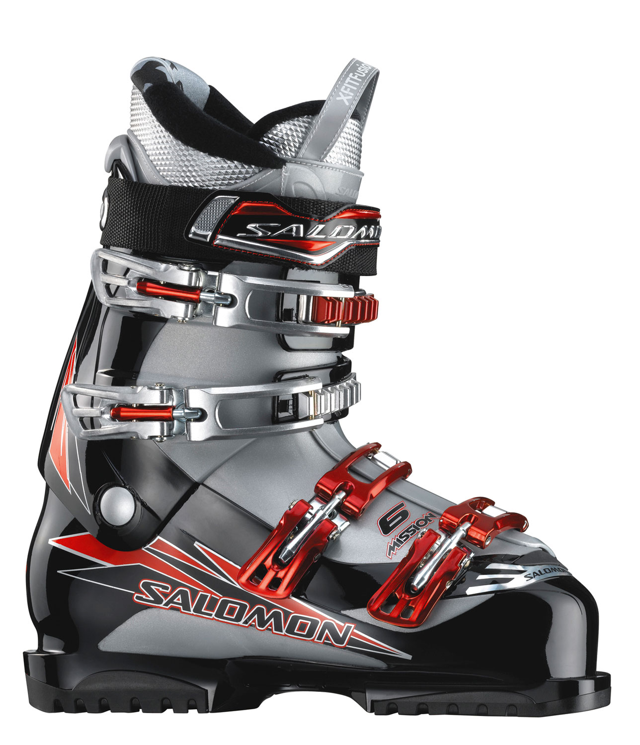 Ski A sporty looking boot with Advanced Shell technology for precision and an extra wide sensifit for easy step inKey Features of The Salomon Mission 6 Ski Boots: 3D Sensifit combining soft and hard plastic to ensure seated step in and precision X Fit fusion liner dedicated to comfort and warmth of the foot all day long Advanced shell technology adapted to leisure skiing to guarantee support and precision Adjustable Spoiler X Fit Fusion Advanced 4 Micro Alu Buckles - $252.95
