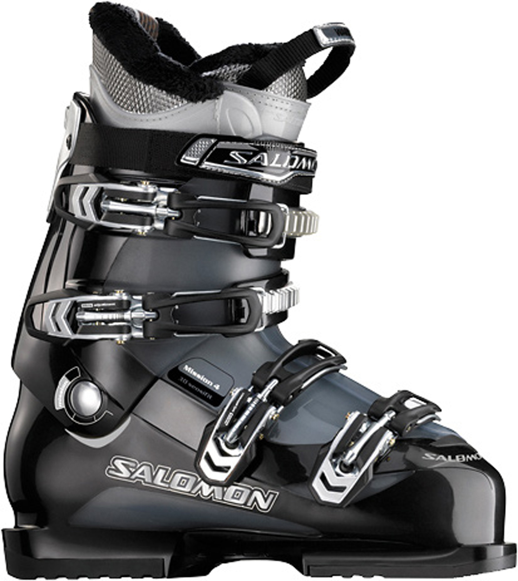 Ski Key Features of the Salomon Mission 4 Ski Boots: 2 micro & 2 vario plastic buckles Tool free catch adjustment Heel and toe removable din pads Xfit Fusion Comfort Flex: 55 Last: 104 - $159.95
