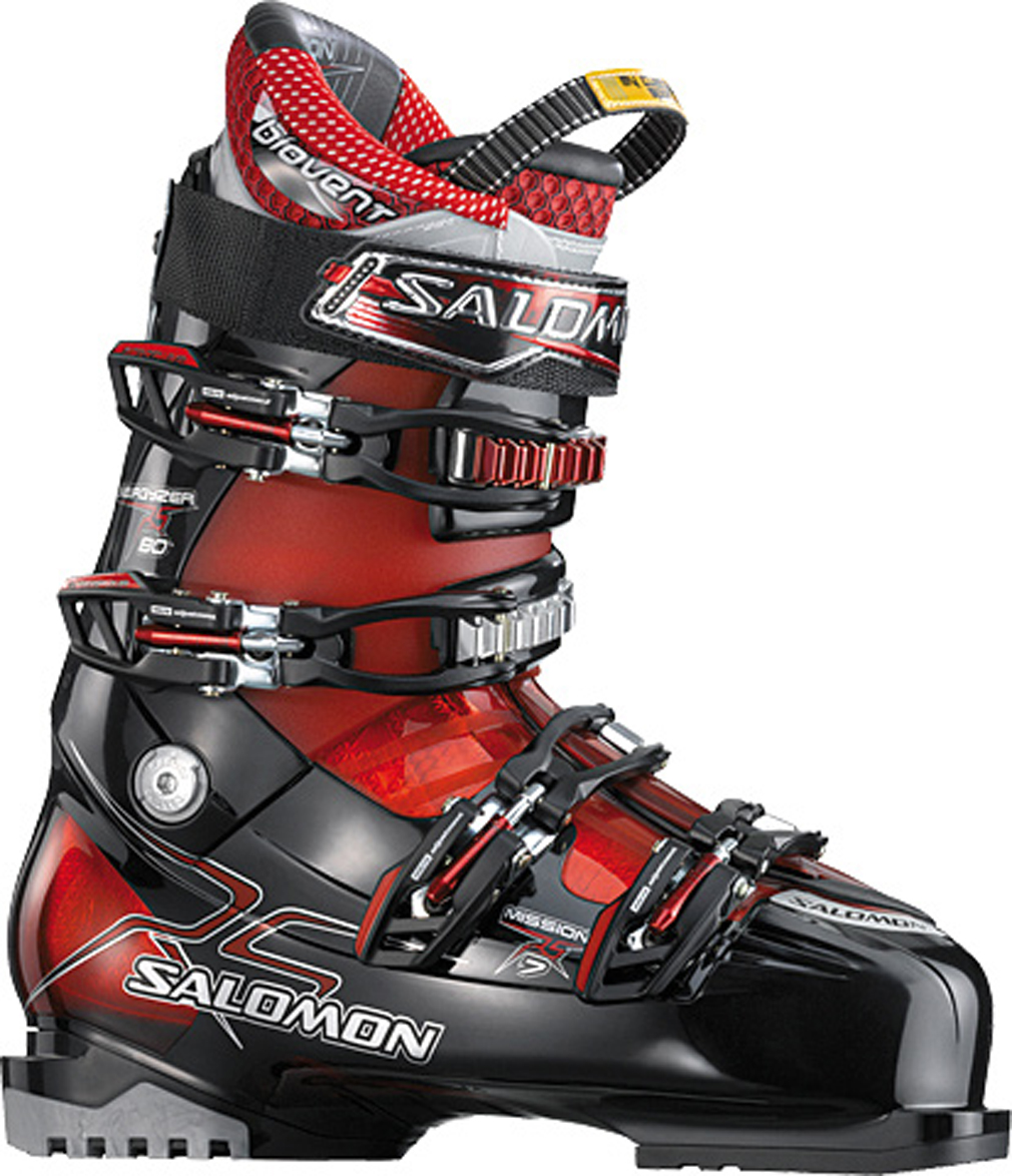 Ski Key Features of the Salomon Mission Rs 7 Ski Boots: Bi material PU lower shell Bi material PP upper cuff My Custom Fit Sport Biovent Leather liner Single canting Tool free catch adjustment Heel and teo removable din pads Flex: 80 Last: 102 - $226.95