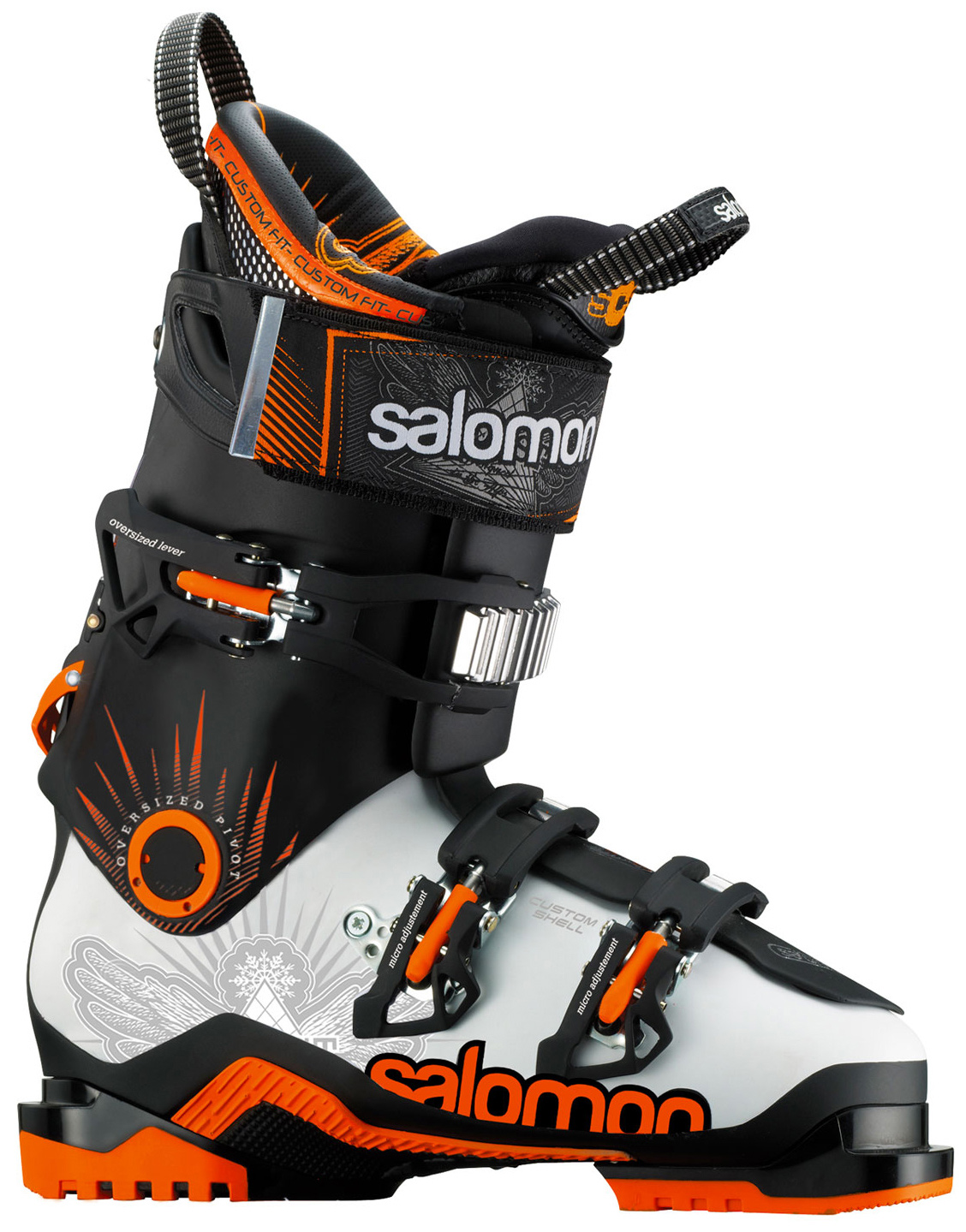 Ski Key Features of the Salomon Quest Max 100 Ski Boots: Ride & Hike Technology Twinframe 360 degree Custom Shell My Custom Fit Pro Backbone Release 24Mm Oversized Pivot Interchangable Bi-Material Alpine Pads Bi Material Pu Lower Shell Bi-Material Pu Upper Cuff Waterproof Gusset - $405.95
