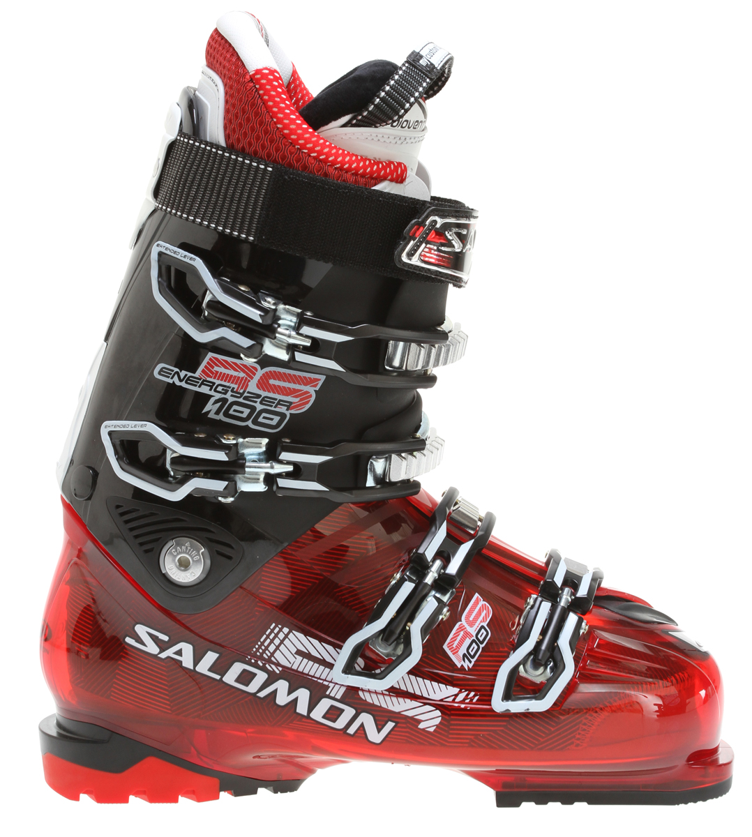 Ski Performance all-mountain boot designed for all day comfort and improved control with today's modern ski designs.Key Features of the Salomon RS 100 Ski Boots: Bi material PU lower shell Bi-material PU upper cuff Progressive Flex Cuff design Advanced Shell Technology Tool free catch adjustment Single canting Heel and toe removable din pads Backbone My Custom Fit Performance Biovent Leather liner 4 micro titanium buckles Flex Index: 100 Last: 102 - $244.95