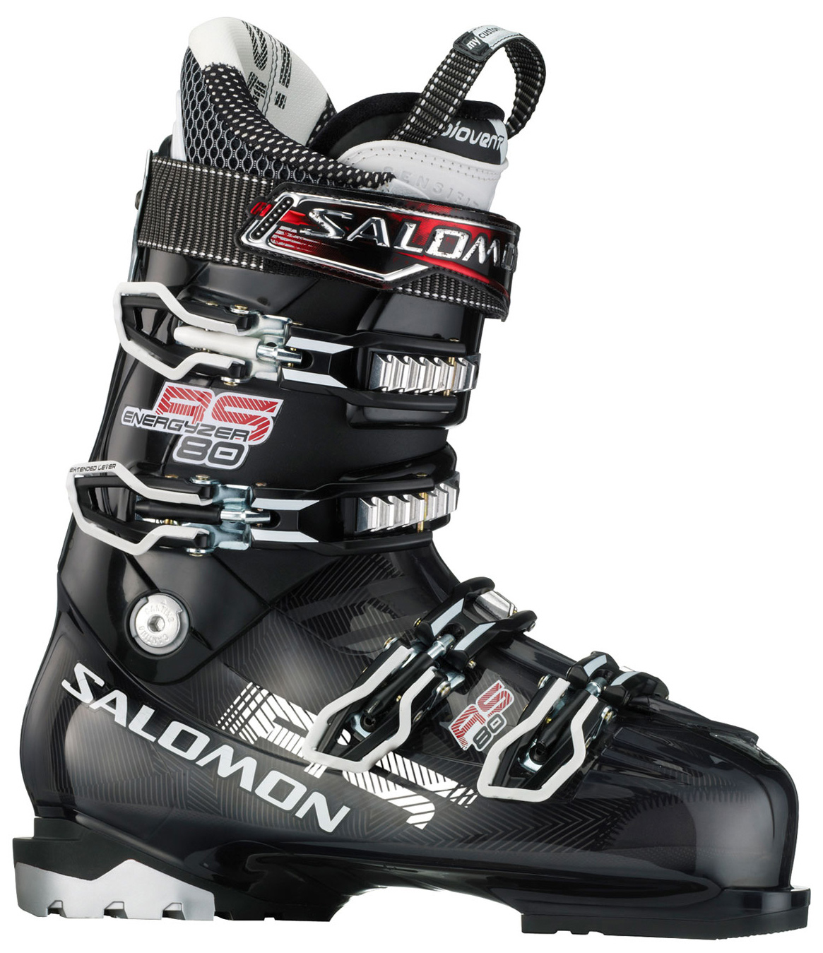 Ski Key Features of the Salomon Rs 80 Ski Boots: Bi Material Pu Lower Shell Bi-Material Pp Upper Cuff My Custom Fit Sport Biovent Leather Liner Single Canting Tool Free Catch Adjustment Heel And Toe Removable Din Pads 4 Micro Titanium Buckles - $209.95