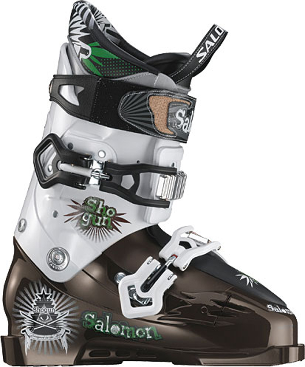 Ski If the semi-robotic and futuristic appearance of the Salomon Shogun Ski Boots is not enough to make a customer aware of the fact that these particular boots have more gadgets and frills than a Swiss Army knife than its list of attributes definitely is. These boots include a special series of 3D twisting buckles designed specifically to allow the wearer a greater degree of motion while wearing them. They also come with a shock-absorbing foot board to aid you in those difficult landings that do not always go as planned. Key Features of the Salomon Shogun Ski Boots:  World cup advanced shell technology  My Custom Fit Race  Sensitive liner  2 micro alu oversized buckles  3D buckle  Double dismantable canting  Dismantable flex rivet  Shock absorbing footboard  Flex: 100  Last: 98  Strap: 45 - $440.95