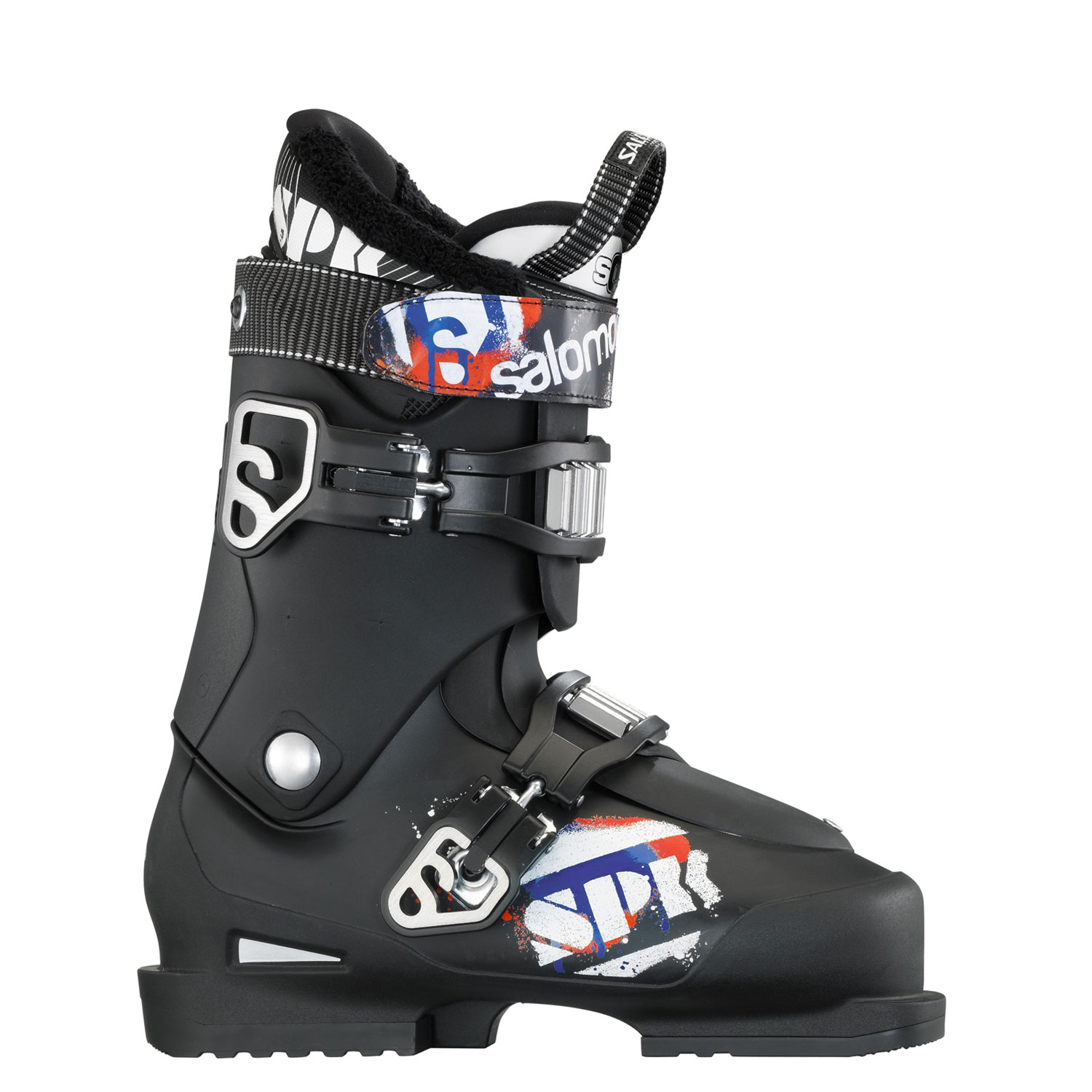 Ski Key Features of the Salomon Spk 75 Ski Boots: Bi-Material Pp Lower Shell Bi-Material Pp Upper Cuff Heel Cushioning System Thermicfit Loop On Tongue Heel And Toe Removable Din Pads - $209.95