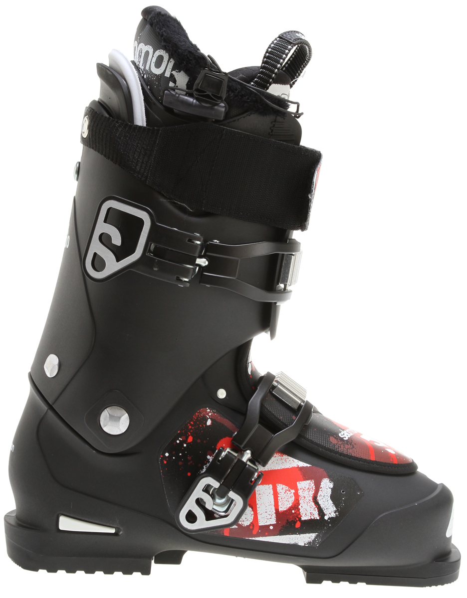 Ski Salomon SPK combines state of the art features for freestyle riding, with Salomon's legendary fit and skiing performance.Key Features of the Salomon SPK 100 Ski Boots: Bi material PU lower shell Bi-material PP upper cuff Advanced Shell Technology Heel and toe removable din pads My Custom Fit Pro Quicklace 2 oversized Magnesium buckles Extra padded spoiler SCS on liner Absorbing footboard Flex Index: 100 Last: 104 - $279.95