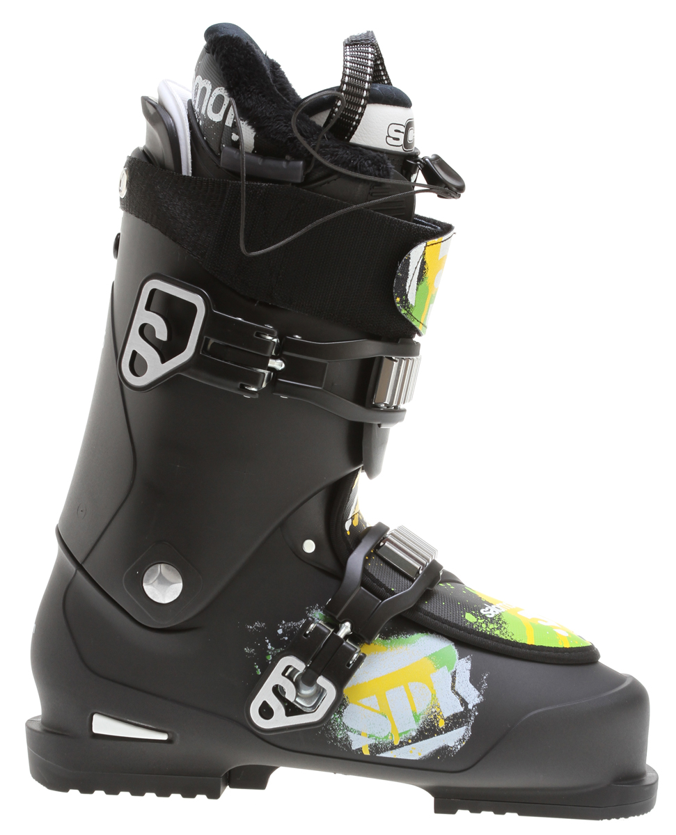 Ski Salomon SPK combines state of the art features for freestyle riding, with Salomon's legendary fit and skiing performance.Key Features of the Salomon SPK 85 Ski Boots: Bi-material PP lower shell Bi-material PP upper cuff Textile overlap Advanced Shell Technology Heel and toe removable din pads Thermicfit 2 oversized Magnesium buckles Extra padded spoiler Flex Index: 85 Last: 104 - $307.95