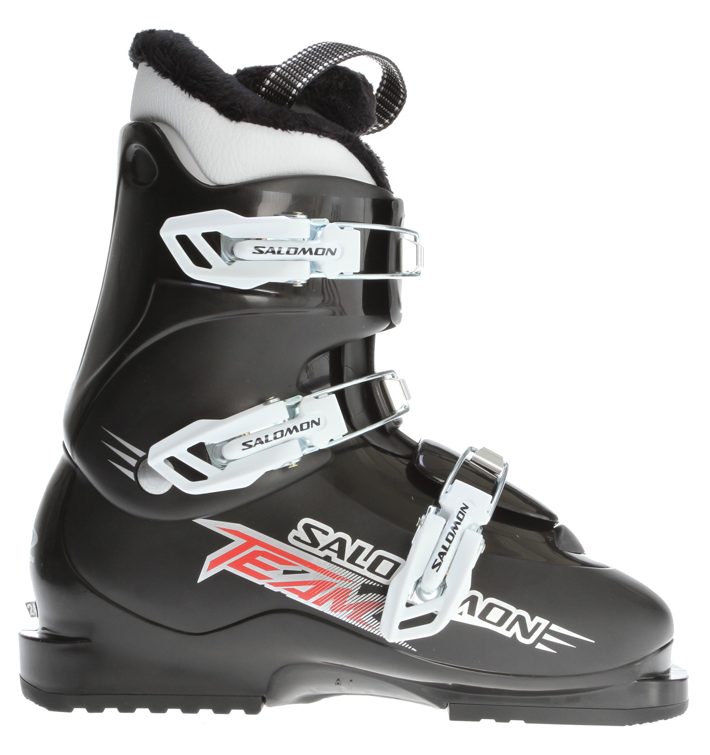 Ski Key Features of the Salomon Team Ski Boots: Mono Material Pp Lower Shell Mono Material Pp Upper Cuff Specific Junior Cuff Thermicfit Fur 3 Vario Plastic Buckles - $76.95