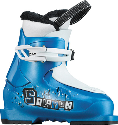 Ski Ideal first ski boot for kids, the T1 is light, warm and easy to use even for small kidsKey Features of the Salomon T1 Ski Boots: Mono Material PP lower shell Heel and toe removable din pads Thermicfit Liner Loop on tongue Fur on liner 1 easy close plastic buckle Ratchet buckle Weight 1200 (22.5) Flex Index 10 JR Strap NO Last wide - $64.95