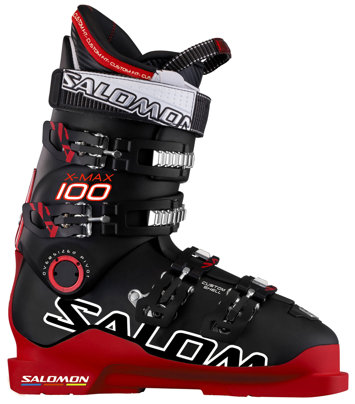 Ski Key Features of the Salomon X Max 100 Ski Boots: Twinframe 360 degree Custom Shell Bi Material Pu Lower Shell Bi-Material Pu Upper Cuff Backbone 1 Screw 24Mm Oversized Pivot 4Mm Integrated Lifter My Customfit Pro Liner + 1 Loop (Rear) - $349.95