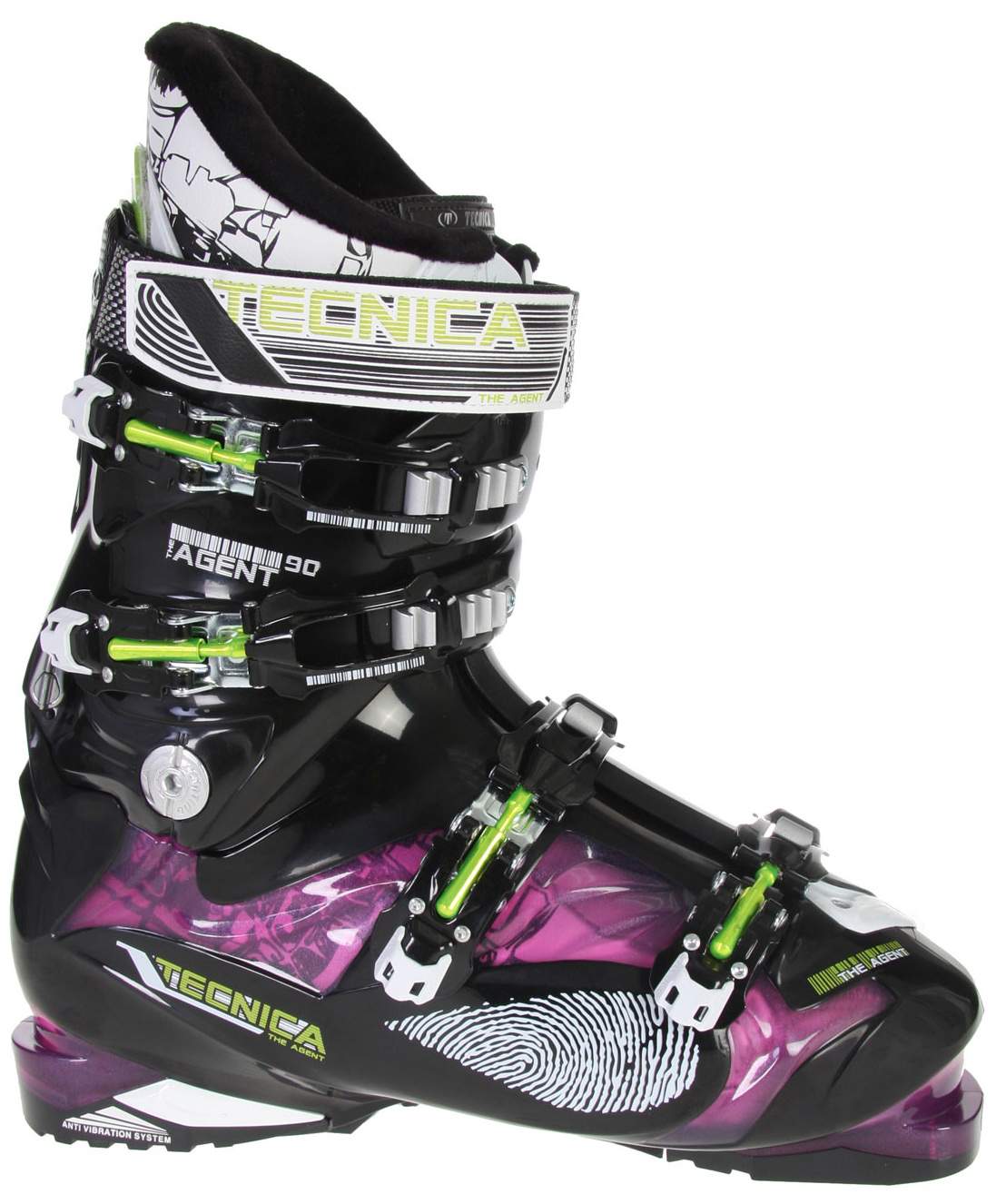 Ski If you are looking for a great ski boot that puts comfort and performance at the top of its priority list you might consider the Tecnica Agent 90 ski boots. These boots are not only equipped with many features for comfort, they are also slick and stylish. Built with a 3-density shell to create 3 zones of hardness to maximize fit, a neoprene liner in the toe box to keep your toes warm and give you a little extra room as the day goes on and a fur fleece lining you can be sure, that even after a long day on the slopes your feet will be warm and comfortable. The buckles are made from a carbon steel so you can be sure they will last and the power strap at the top of the boot allows you a custom fit. Overall, these boots and all their features are quite impressive.Key Features of the Tecnica Agent 90 Ski Boots: 3 Density Technology Cuff Alignment Delta Force System AVS With Grip Sole Velcro Rear Spoiler: adjustable and removable 35mm Velcro Powerstrap Embossed Carbon Steel Buckles Contact: Shock Absorbing Tongue, Shock Absorbing Rear Spoiler Triple Position Cuff Catches Fur Fleece Lining Tongue Handle Pull Strap Neoprene Toe Box - $345.95