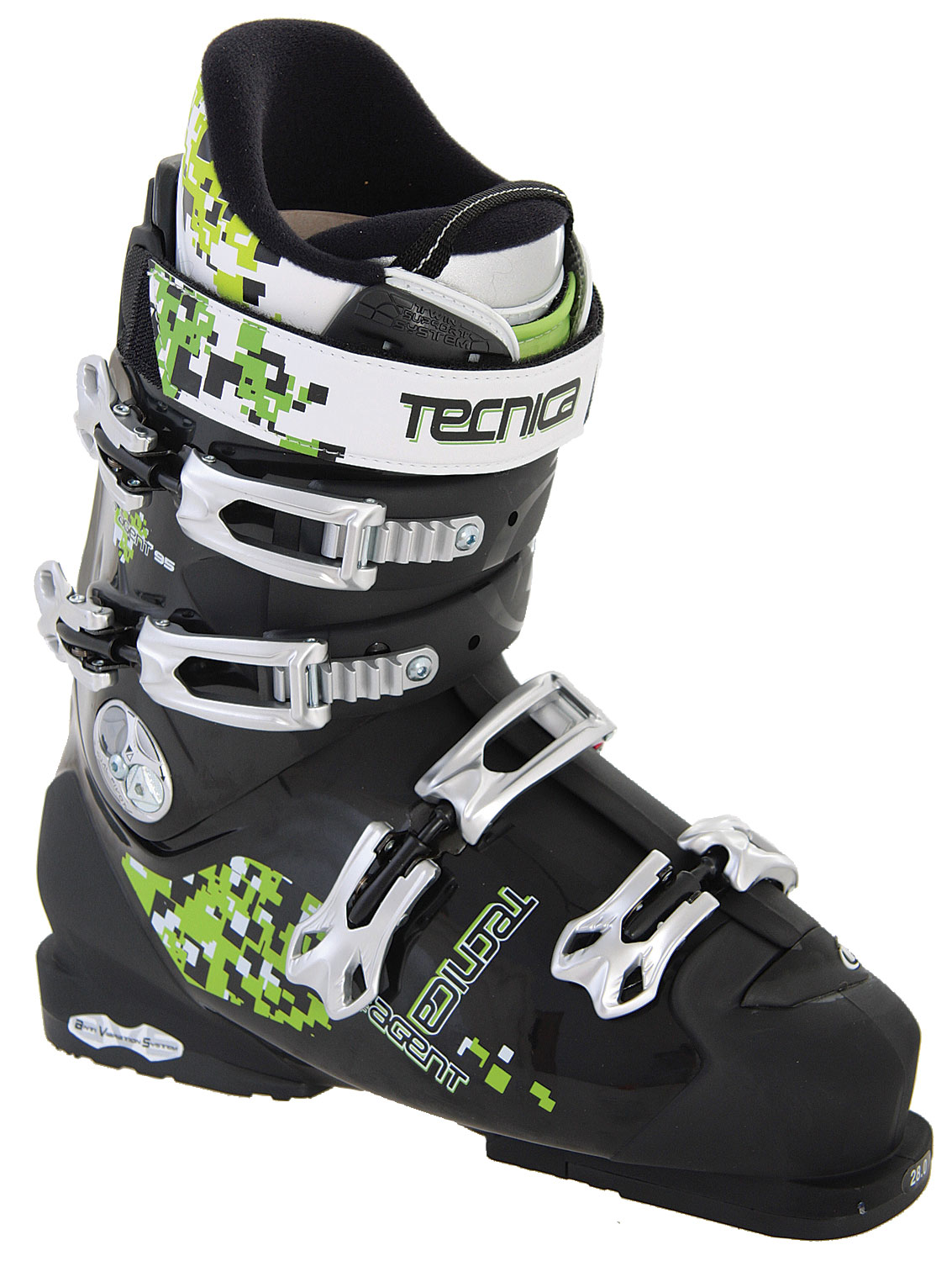 Ski Every skier needs a trusty pair of boots that fits their style. The Tecnica Agent 95 Ski Boots might just be what you're looking for and there is sure a style that fits you perfectly. The fur fleece lining inside keeps your feet toasty and warm and the twin support system makes sure to keep your feet in place and avoid sprains. Tecnica Agent 95 Ski Boots also are fully adjustable, coming with triple position cuff catches and a flex adjustment.Key Features of The Tecnica Agent 95 Ski Boots: 3 Density Technology Twin Support System Dual Pivot Flex Adjustment - 2 Pos. Hinged Instep Catch Tongue Handle Pull Strap Triple Position Cuff Catches AVS With Grip Sole Diablo Alu Buckle Shock Absorbing Zeppa Shock Absorbing Tongue Rear Spoiler - Removable Fur Fleece Lining Neoprene Toe Box F.I.T. System Tongue Tongue Handle Pull Strap UltraFit Liner - $345.95