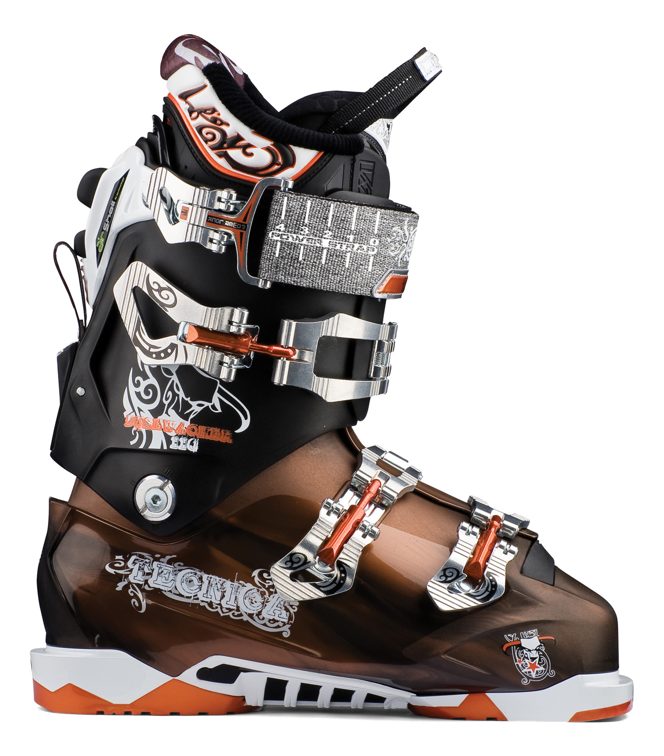 Ski Key Features of the Tecnica Bushwacker Air Shell Ski Boots: Air Shell Interchangeable Soles: Comes with DIN Soles, Tech Compatible Soles available Quick Instep i-Rebound Flex Management Arch Grip Insert Lightweight Triax Cuff Mobility System with Hike Mode Cuff Alignment Velcro Rear Spoiler: adjustable & removabl 45mm Velcro Alu Buckle Closure 3 Alu Buckles Shock absorbing zeppa 9 Teeth Cuff Catch with Walk Position Hinged Instep Catch Lycra Heel Slide Insert Neoprene Toe Box Flex: 110 Last: 98-100mm: AA-D Widths - $439.95