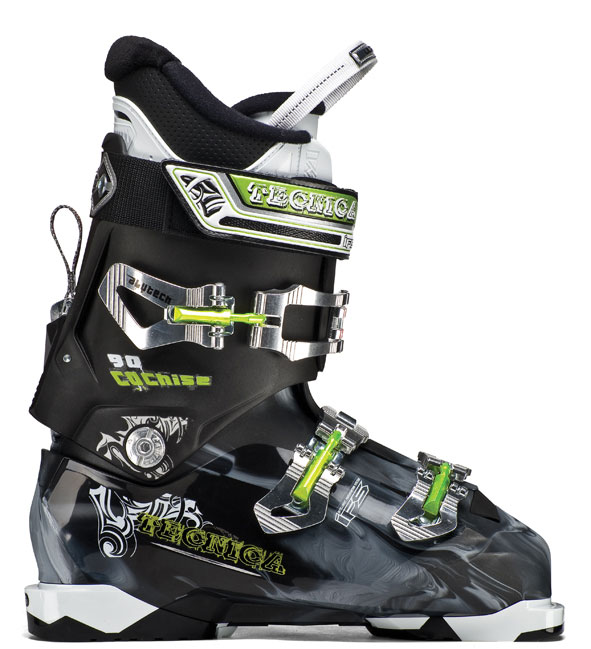Ski Key Features of the Tecnica Cochise 90 Ski Boots: Flex 90 Last 100 Liner ultra fit interchangeable Soles: Comes with Din Soles, tech Compatible Soles available i-rebound flex Management Quick instep lightweight triax Cuff Alignment 40mm Velcro Powerstrap 3 Alu buckles Shock absorbing zeppa triple Position Cuff Catch hinged instep Catch neoprene toe box - $319.99