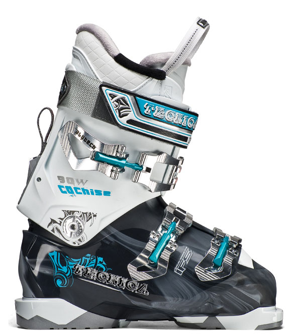 Ski Key Features of the Tecnica Cochise 90W Ski Boots: Flex 90 Last 100 Liner ultra fit interchangeable Soles: Comes with Din Soles, tech Compatible Soles available i-rebound flex Management Quick instep lightweight triax Cuff Alignment 40mm Velcro Powerstrap 3 Alu buckles Shock absorbing zeppa triple Position Cuff Catch hinged instep Catch women's ultrafit liner neoprene toe box - $319.95