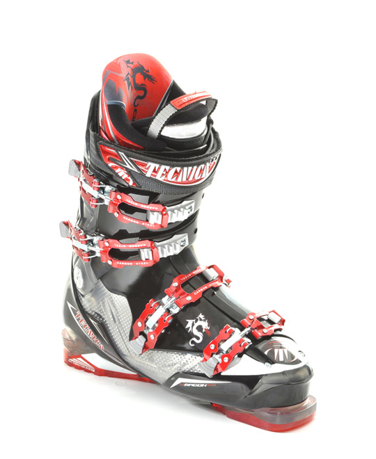 Ski The Tecnica Dragon 100 Ski Boots has a list of features as long as its impressive name might imply. These impressive boots come equipped with a tongue handle pull strap, triple position cuff catches and 4 carbon steel buckles to ensure the durability of the boots as well as their ease of access. The special flex adjustment feature allows for a good range of mobility that is often lacking among boots that are crafted so sturdily.Key Features of the Tecnica Dragon 100 Ski Boots: 3 Density Technology Cuff Alignment Flex Adjustment (rear rivet  AVS with Grip Sole Velcro Rear Spoiler: adjustable and removable 35mm Velcro Powerstrap Carbon Steel Buckles Triple Position Cuff Catches Hinged Instep Catch Tongue Handle Pull Strap UltraFit Liner - $503.95